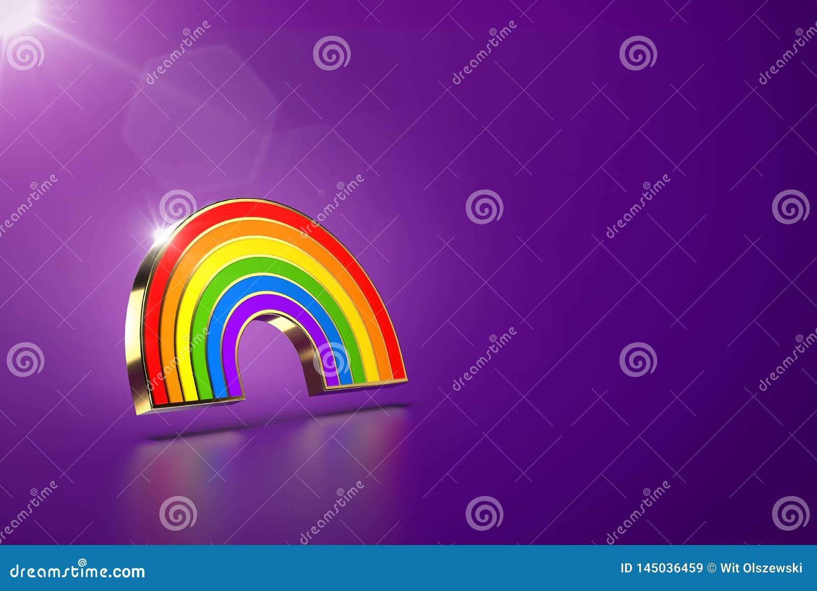 Schwebendes Regenbogensymbol auf purpurrotem Hintergrund LGBT-Gleichgestelltes berichtigt Bewegungs- und Gleichberechtigung der G