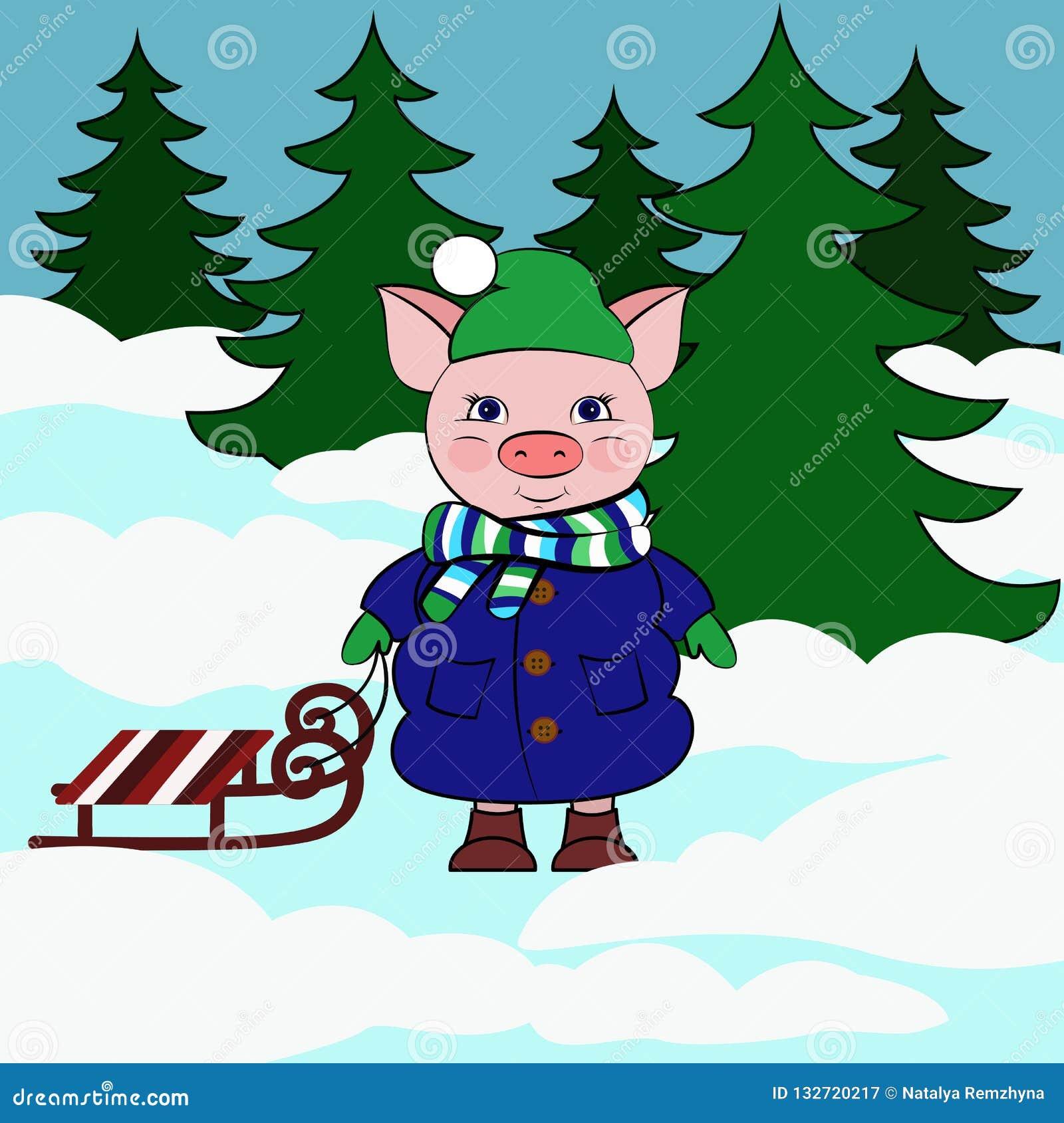 Schwein mit Pferdeschlitten in thy schneebedecktem Wald