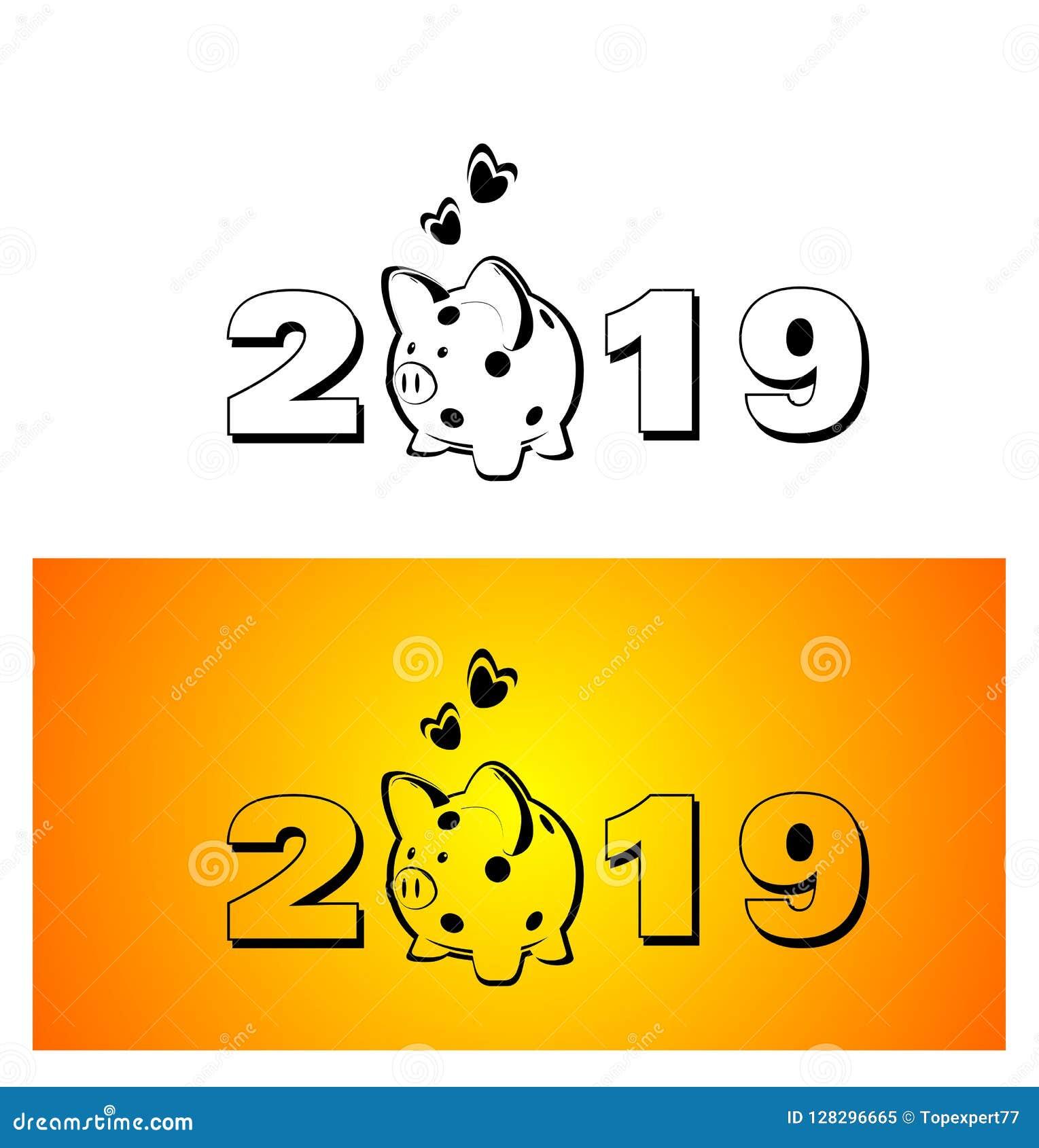 Gelbe Karte Lustig.Schwein Piggy Glückliches Schwein Neues Neues Jahr Symbol 2019