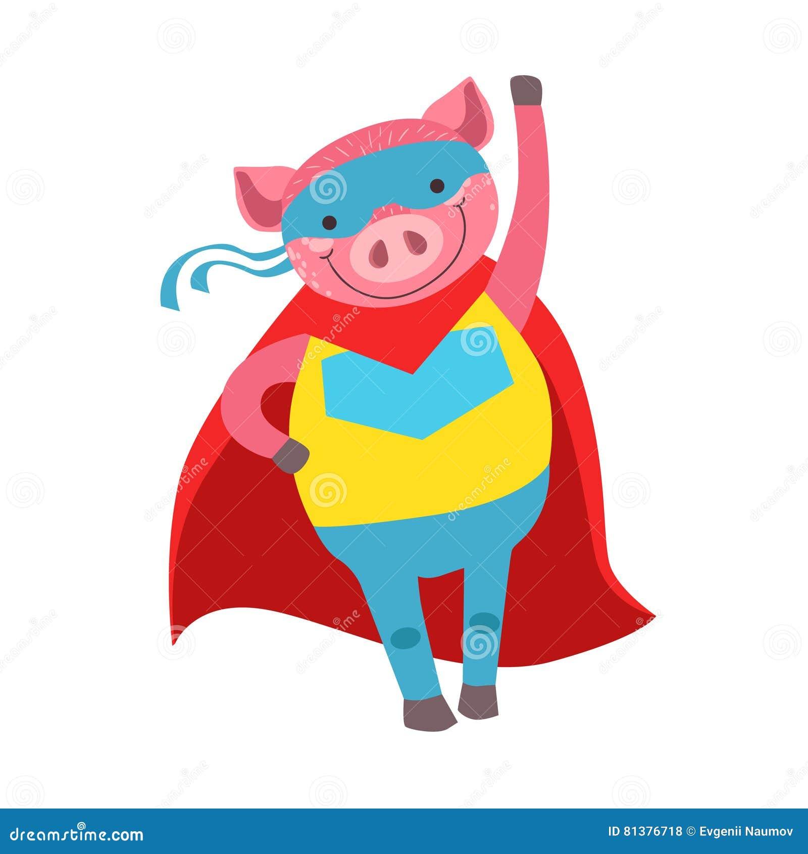Schwein-Tier Gekleidet Als Superheld Mit Einem Kap-komischen ...