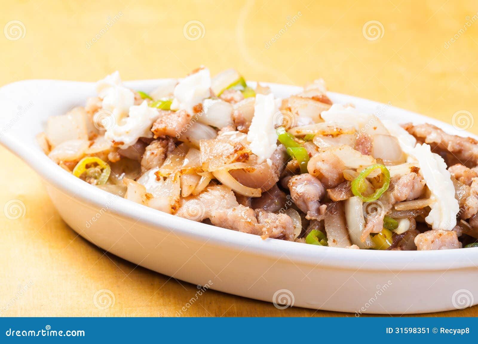 Schweinefleisch sisig eine populäre Zartheit in den Philippinen