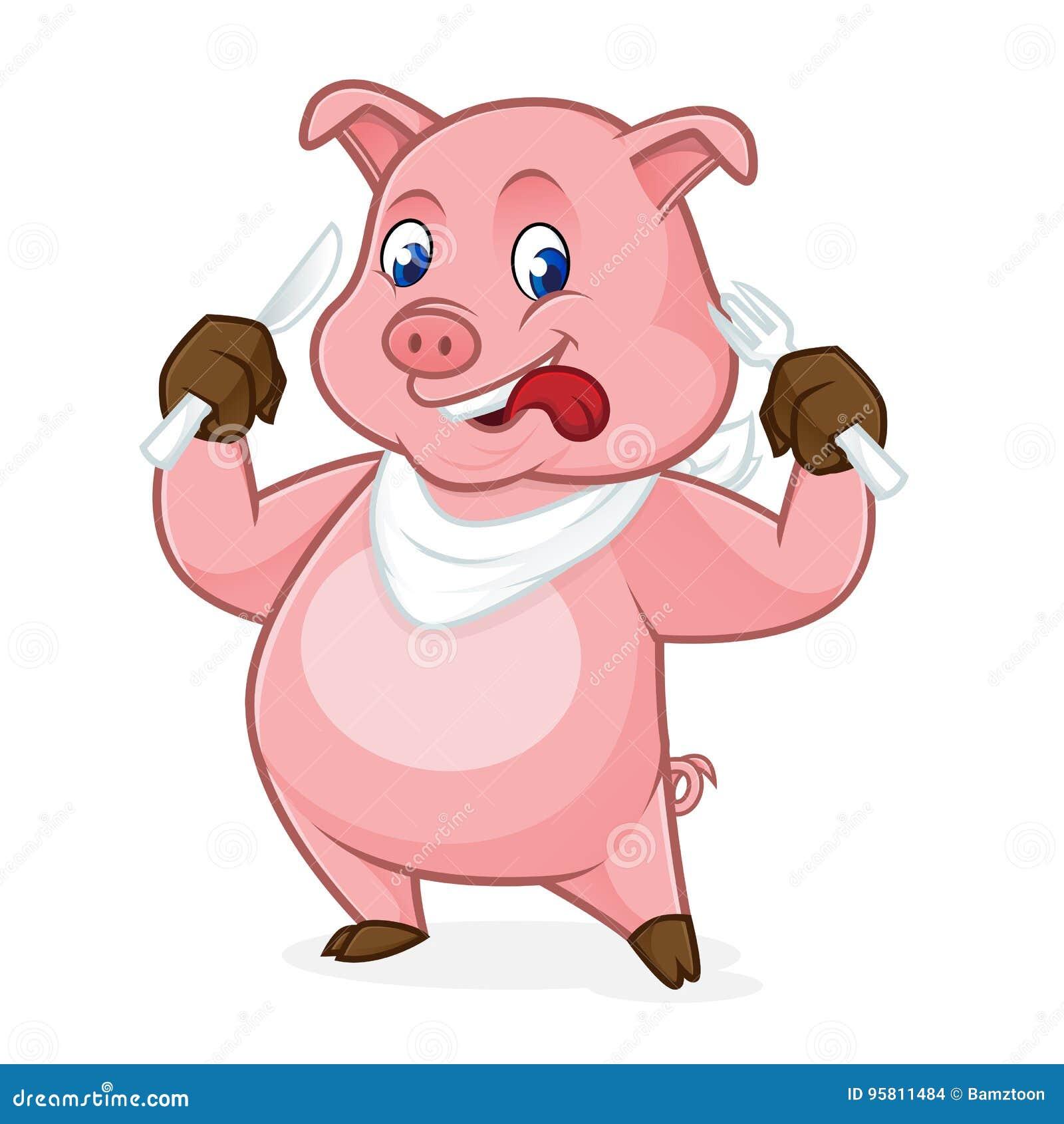 Schweinkarikatur, die Gabel und Messer hält