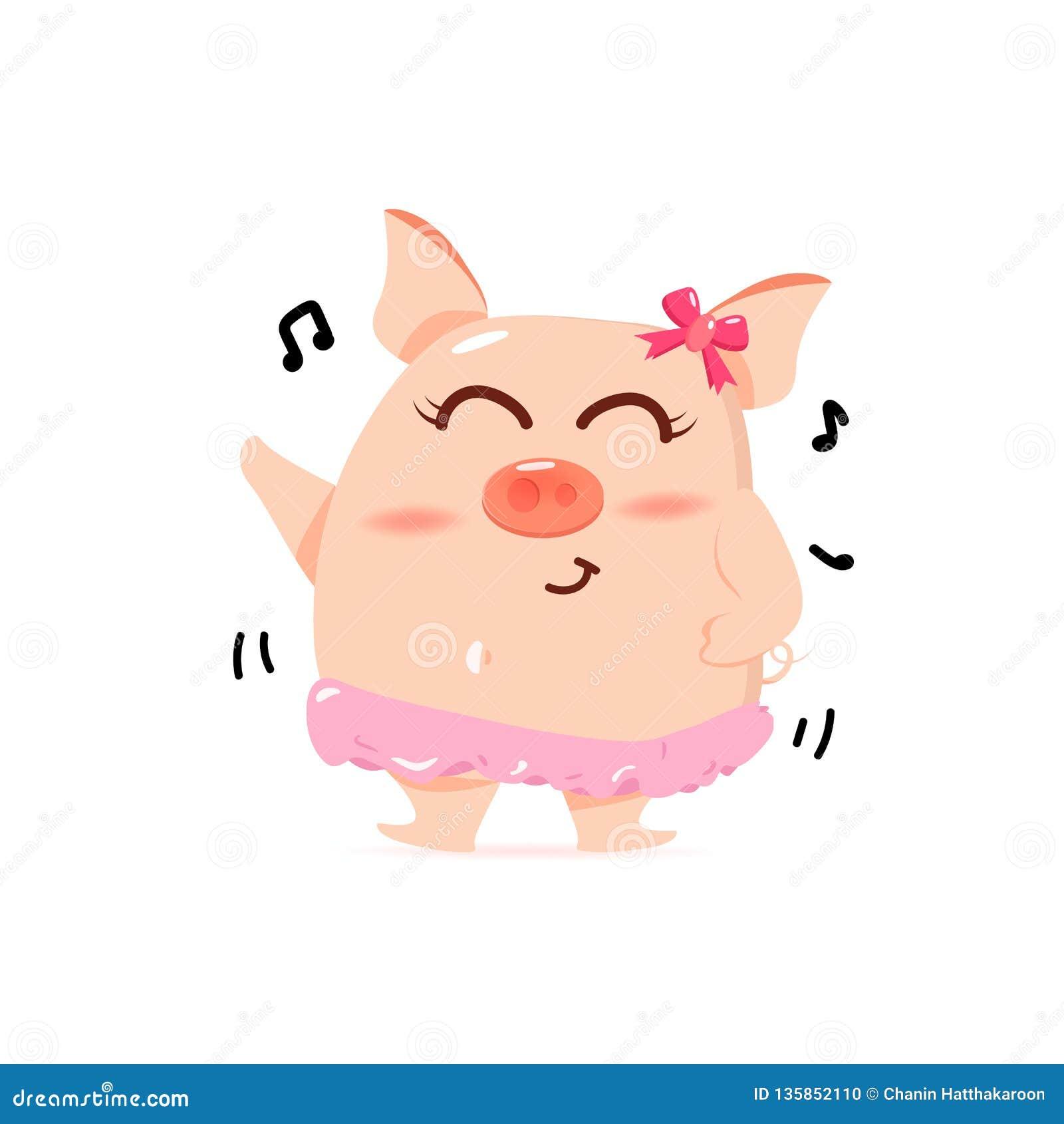 Schweintanzen mit Lied, nette Zeichentrickfilm-Figuren, Chinesisches Neujahrsfest, Jahr des Schweins auf weißer Hintergrundvektor