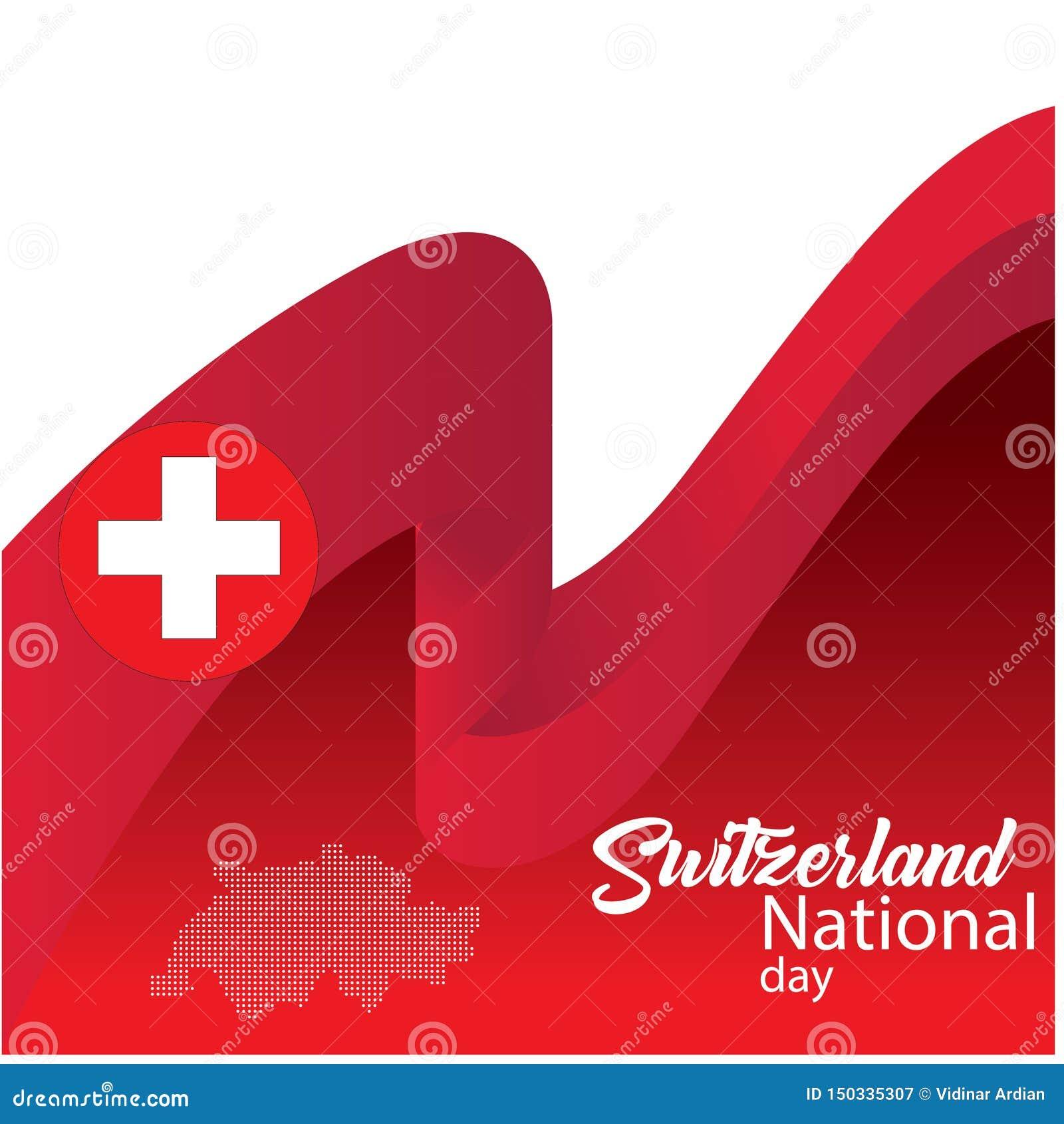 Schweiz flagga, lycklig schweizisk nationell dag - vektor