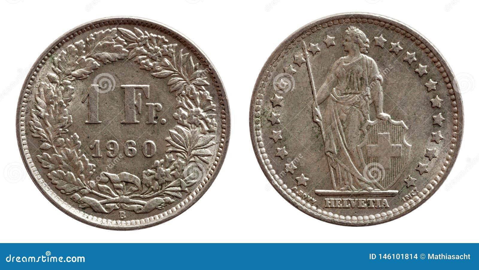 Schweiz schweiziskt mynt 1 en silver för franc som 1968 isoleras på vit bakgrund