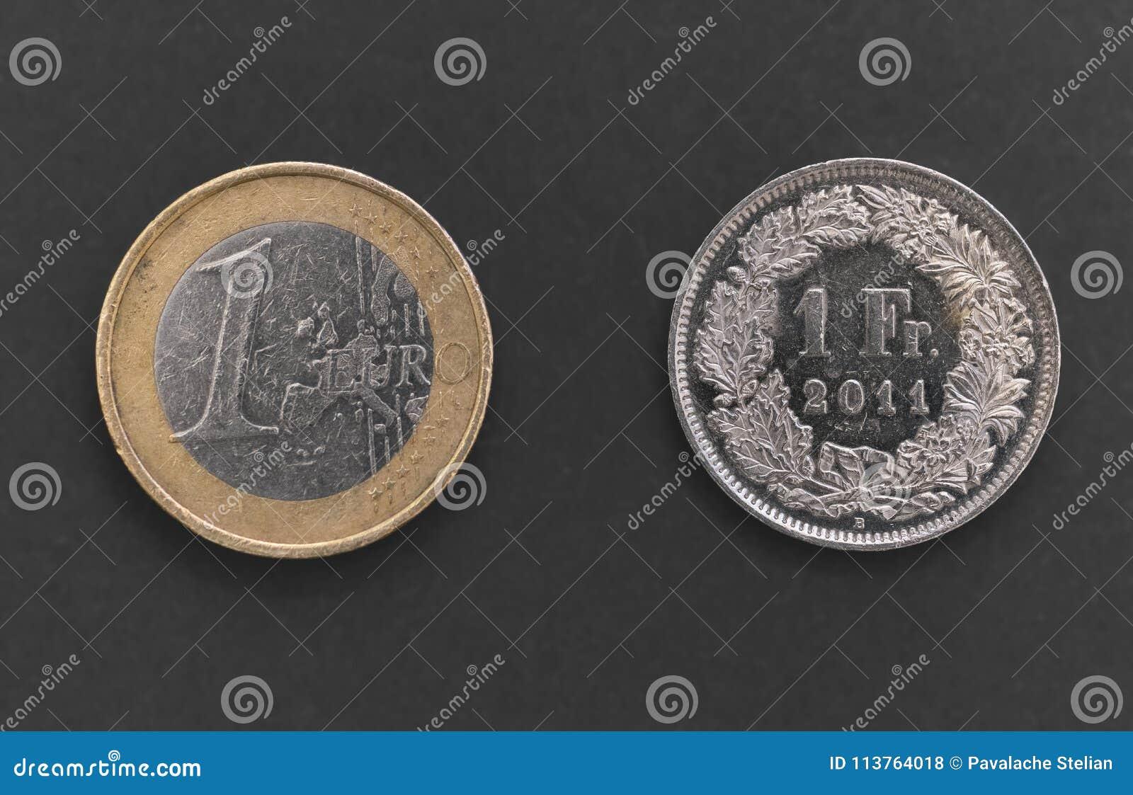 Schweizare en Franc Coin och 1 euromynt