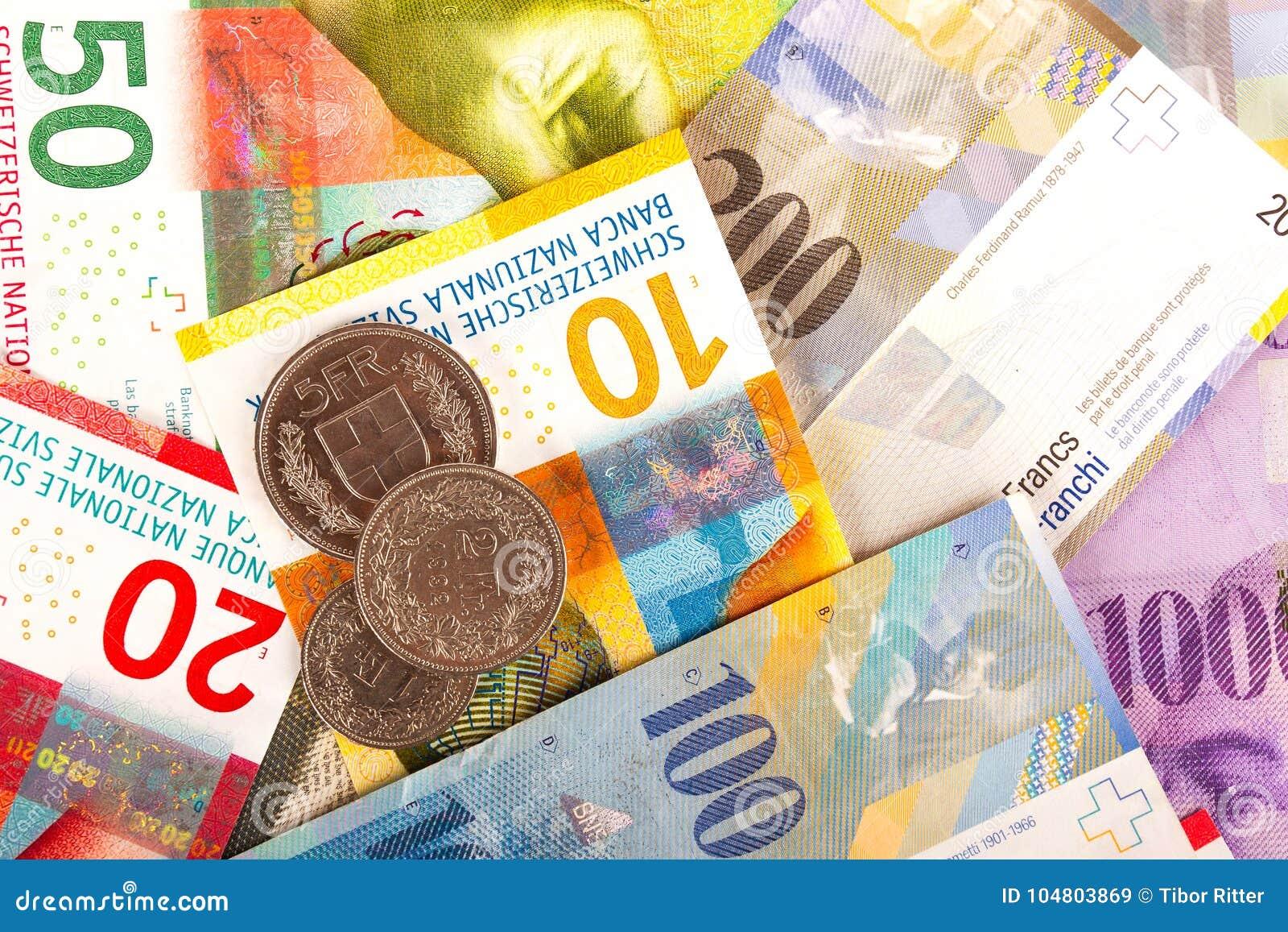 Schweizare Franc Bills och mynt
