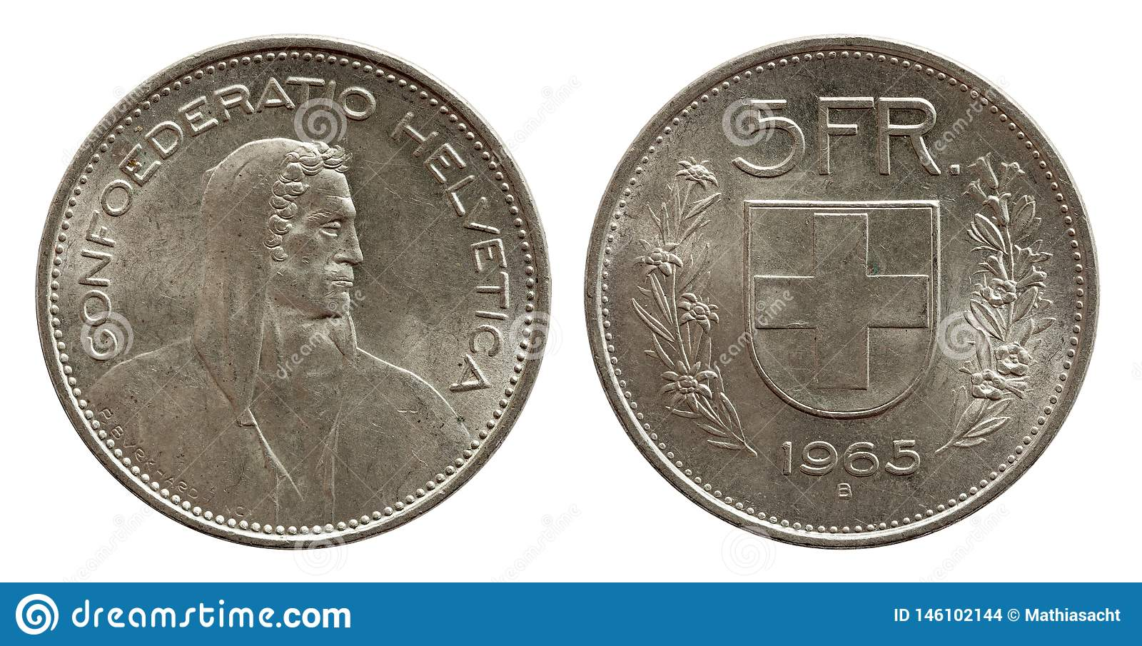 Schweizer Münze 5 der Schweiz fünf Silber des Franken 1965 lokalisiert auf weißem Hintergrund