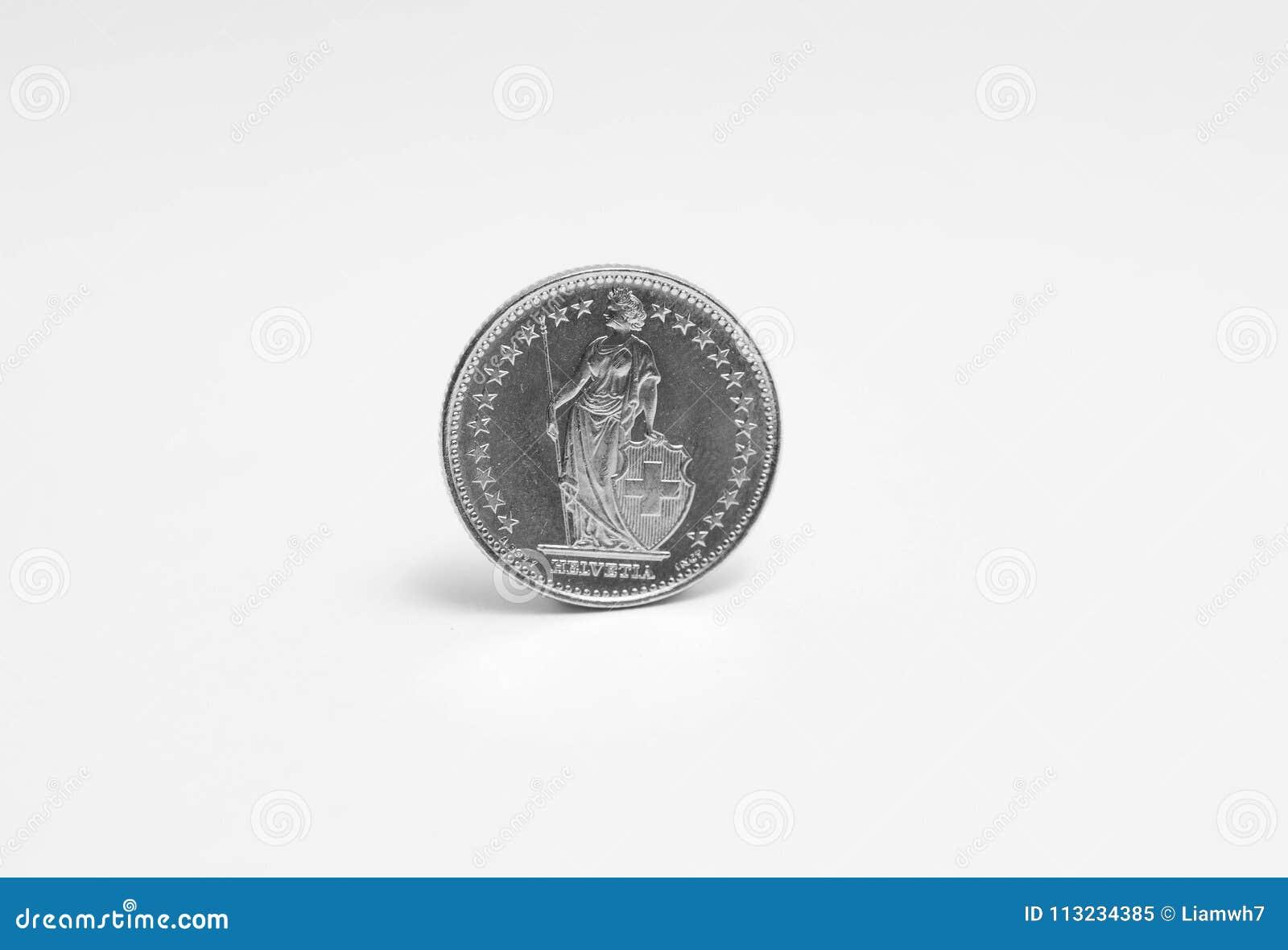 Schweizisk franc en 1 CHF som isoleras på vit