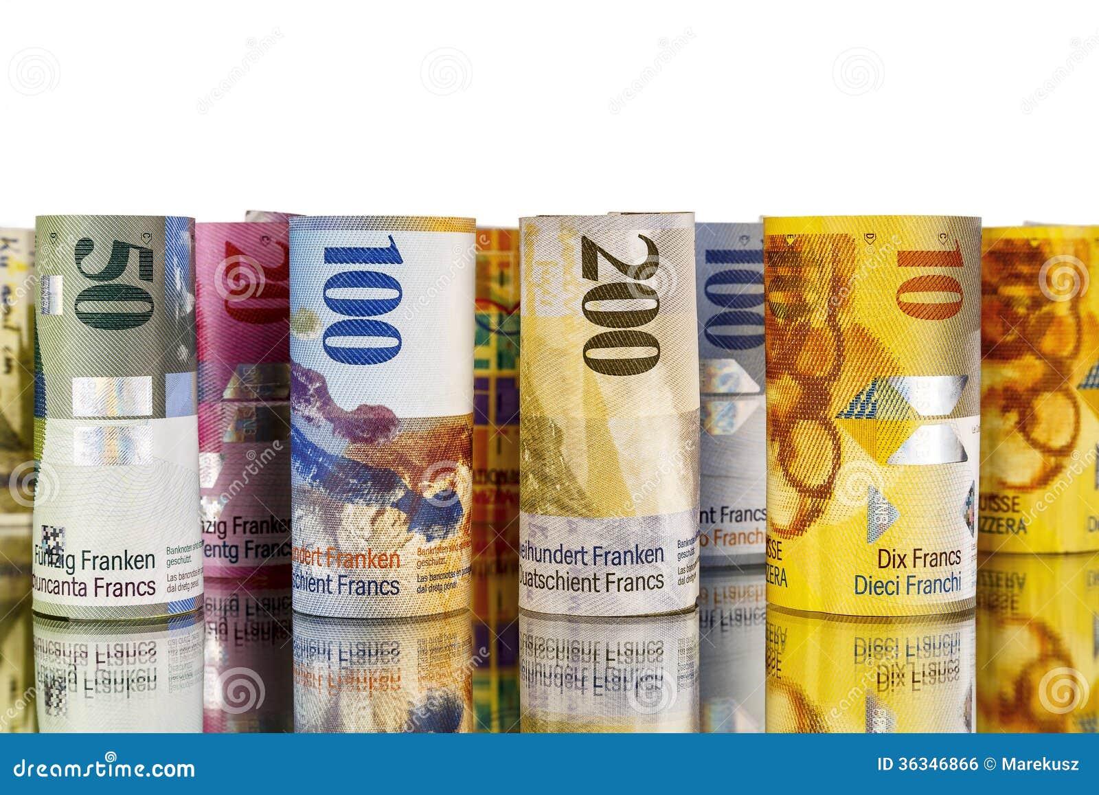 Schweizisk franc sedlar som är hoprullade i rullar