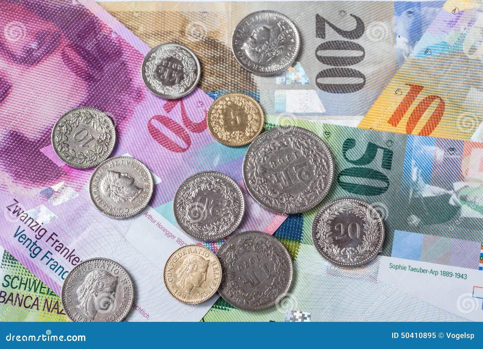 Schweiziska valutasedlar och mynt