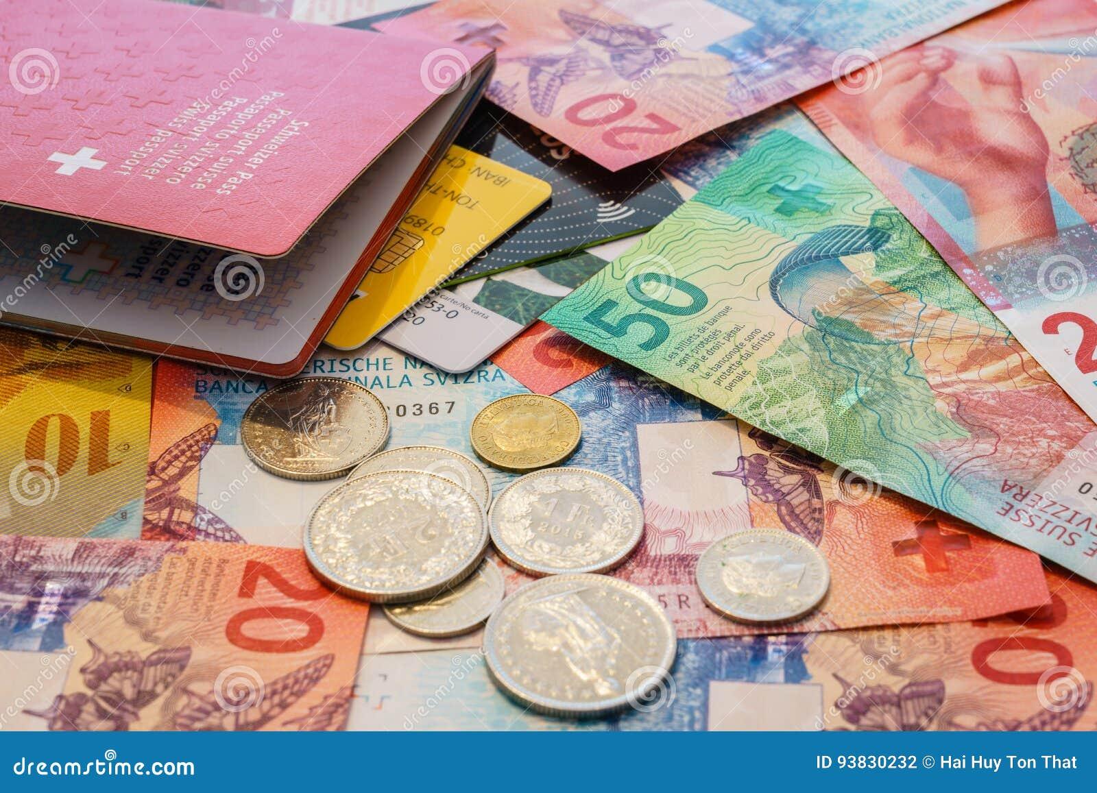 Schweiziskt pass, kreditkortar och schweizisk franc med nya 20 och 50 schweizisk franc räkningar