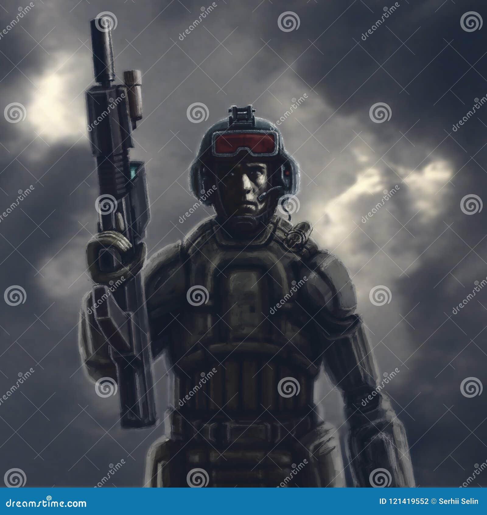 Schwerer Raumsoldat mit einem Gewehr