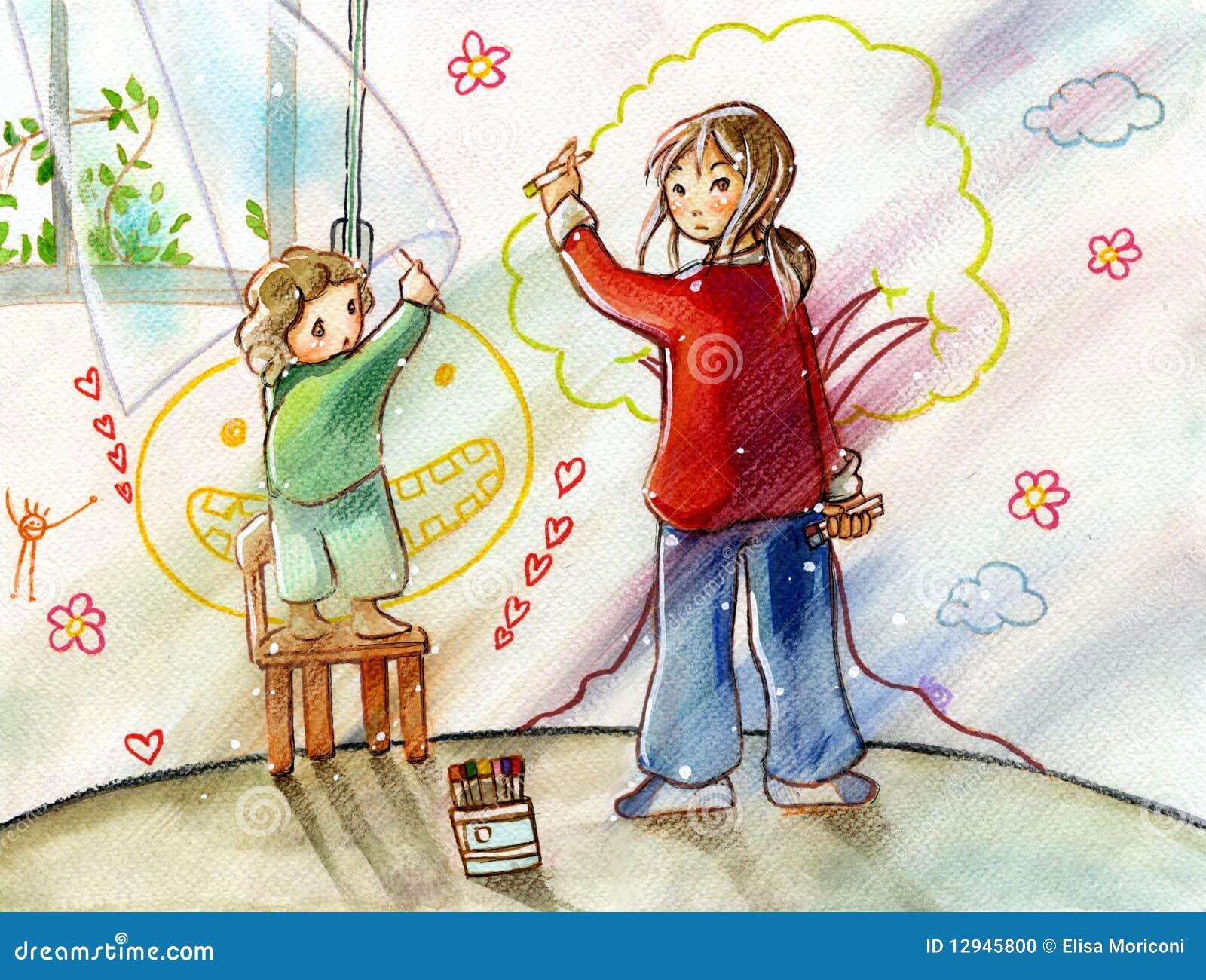Schwestern, Die Auf Ihre Raumwand Zeichnen Stock Abbildung ...