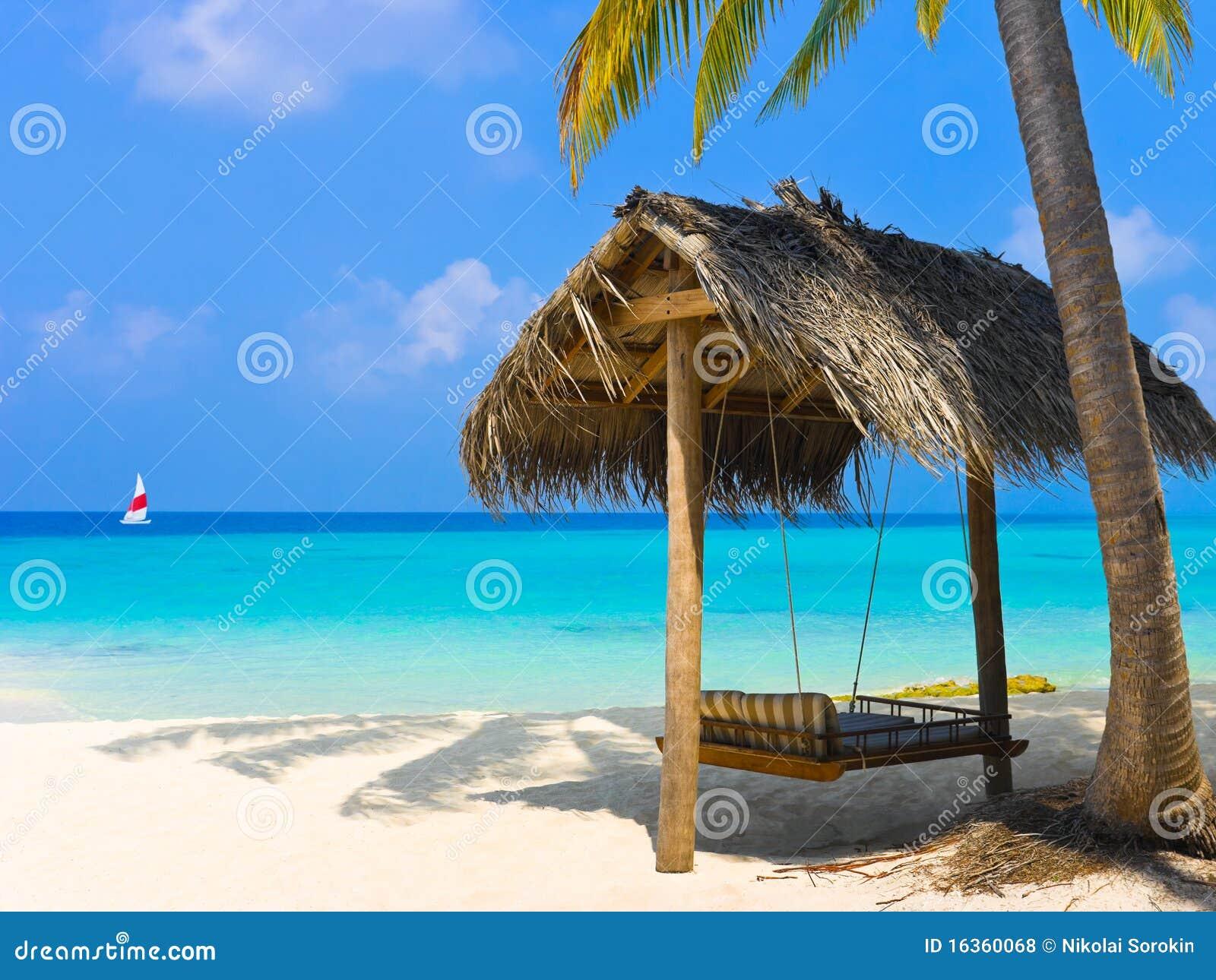 Schwingen auf einem tropischen Strand