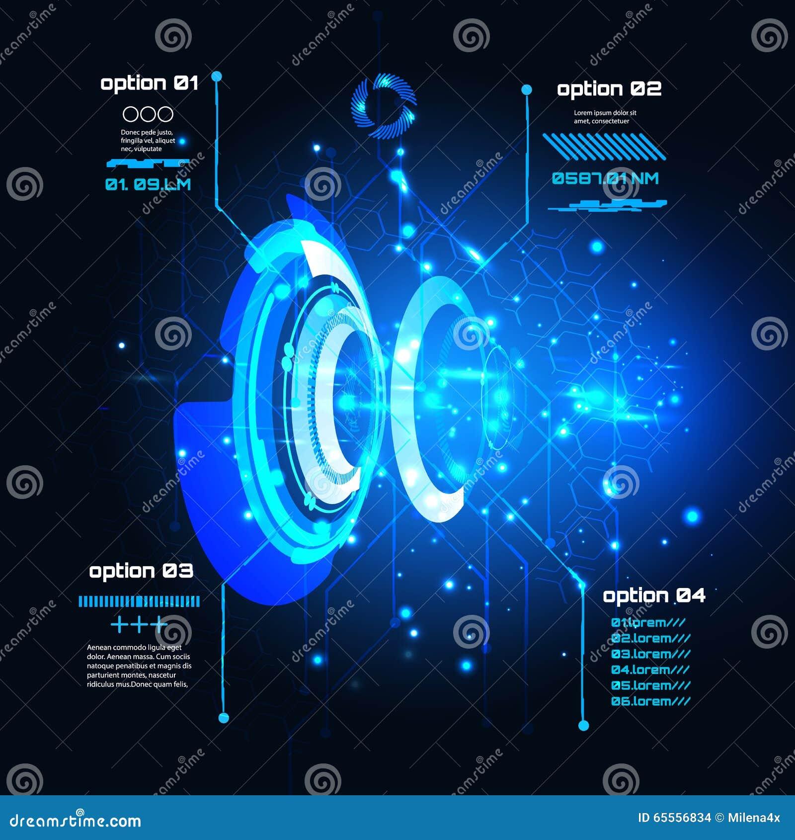 Sci φουτουριστικό ενδιάμεσο με τον χρήστη FI, infographics, HUD, διανυσματικό υπόβαθρο τεχνολογίας
