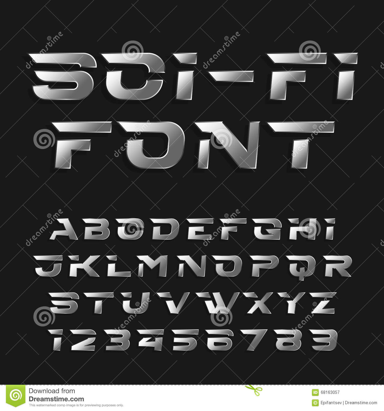 Sci Fi Alphabet Vector Font Futuristic Chrome Effect Type Letters And Numbers Stock Vector Illustration Of Lettering Metal 68163057