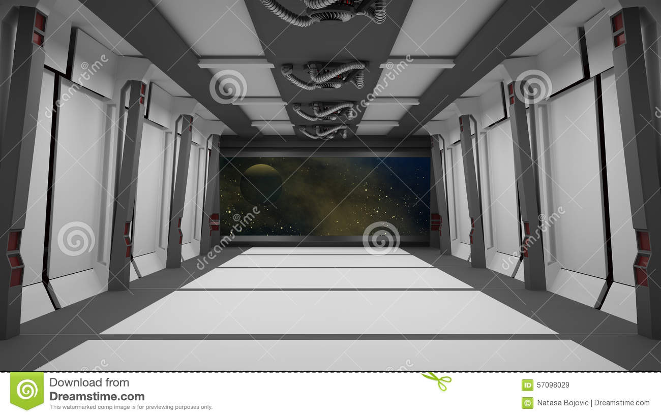Sci Fi Corridor With View Of Space Galaxy Stock