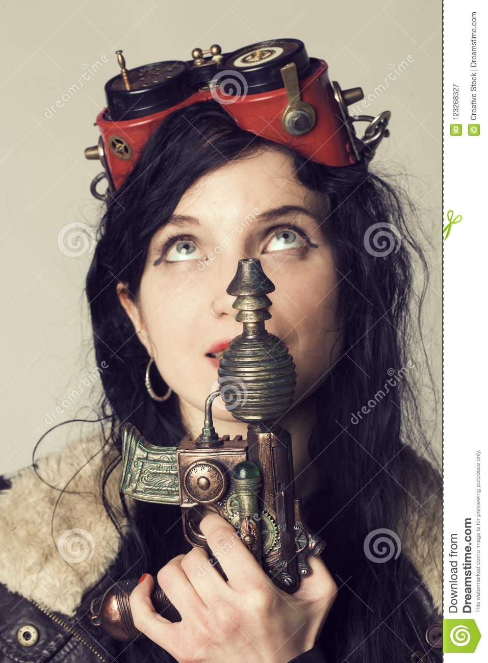 sci fi dieselpunk or steampunk girl with aviator goggles stock image