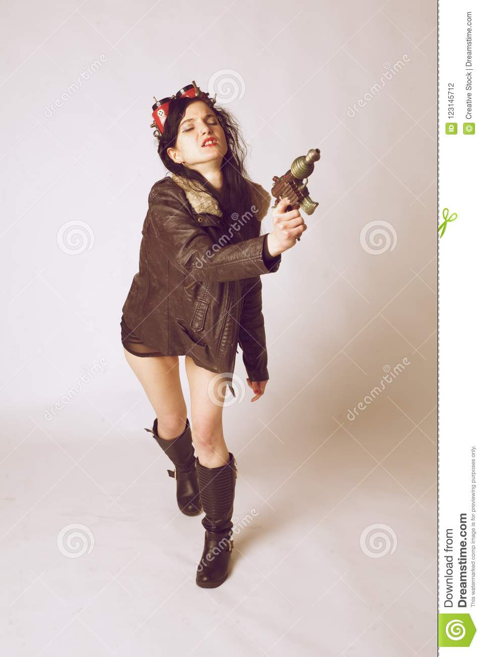 sci fi dieselpunk or steampunk girl with aviator goggles stock photo