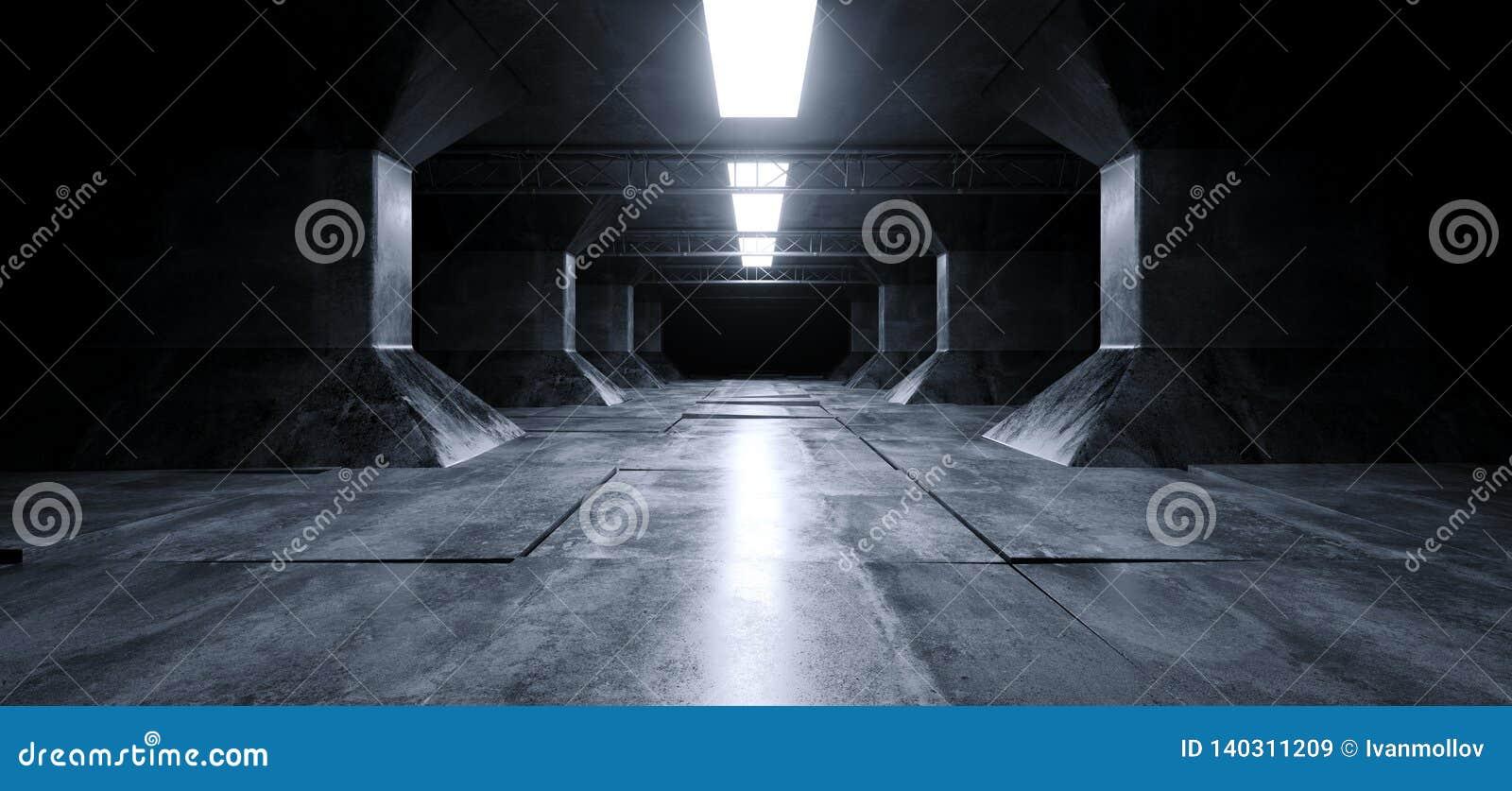 Sci Fi Futuristic Alien Ship Grunge Concrete Reflective Columns Corridor Spaceship Modern Blue White Neon Glowing Laser Led Tiled