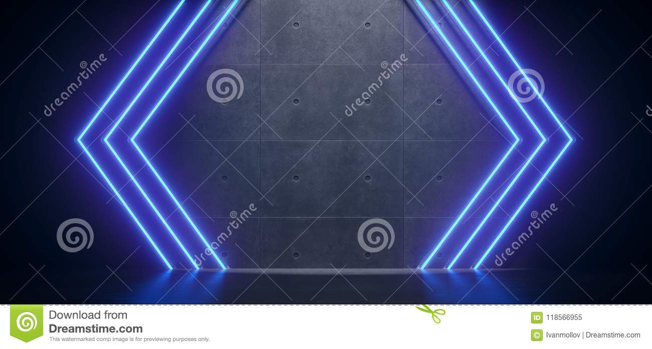 Sci-FI Futuristic Arrow Shaped Blue Neon Lights In Empty