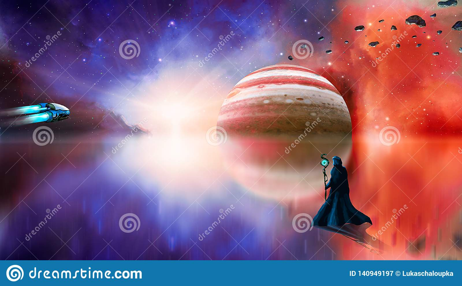 Sci-fi landscape digital painting with nebula, magician, gas gigant, lake and spaceship. Elements furnished by NASA. 3D rendering