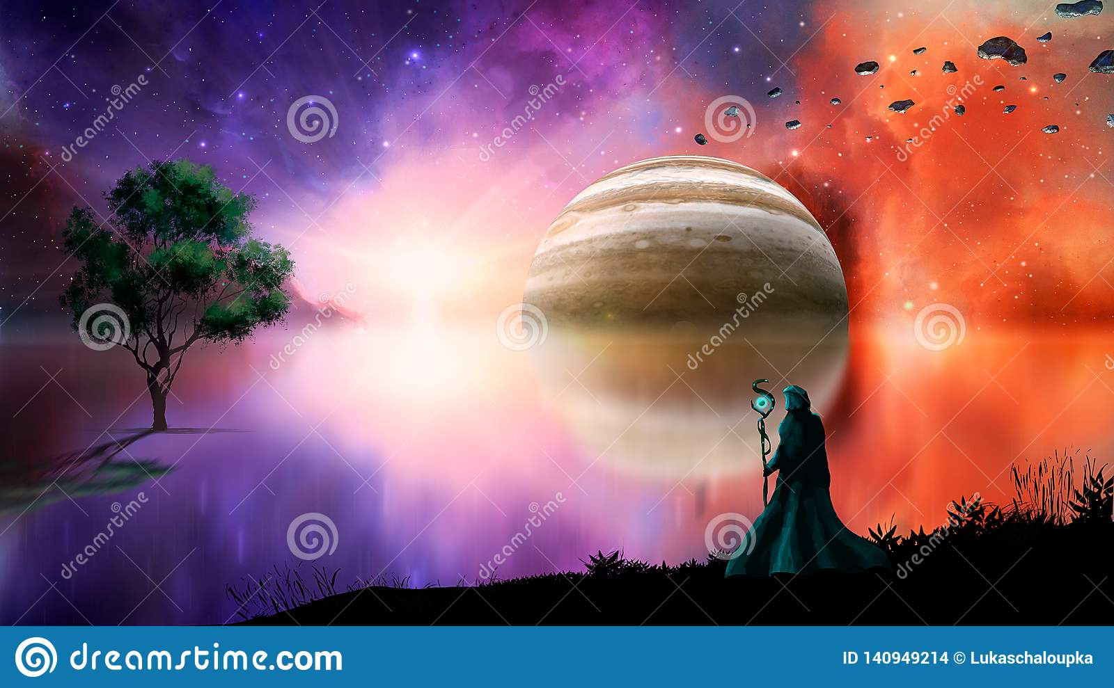 Sci-fi landscape digital painting with nebula, magician, gas gigant, lake and tree. Elements furnished by NASA. 3D rendering