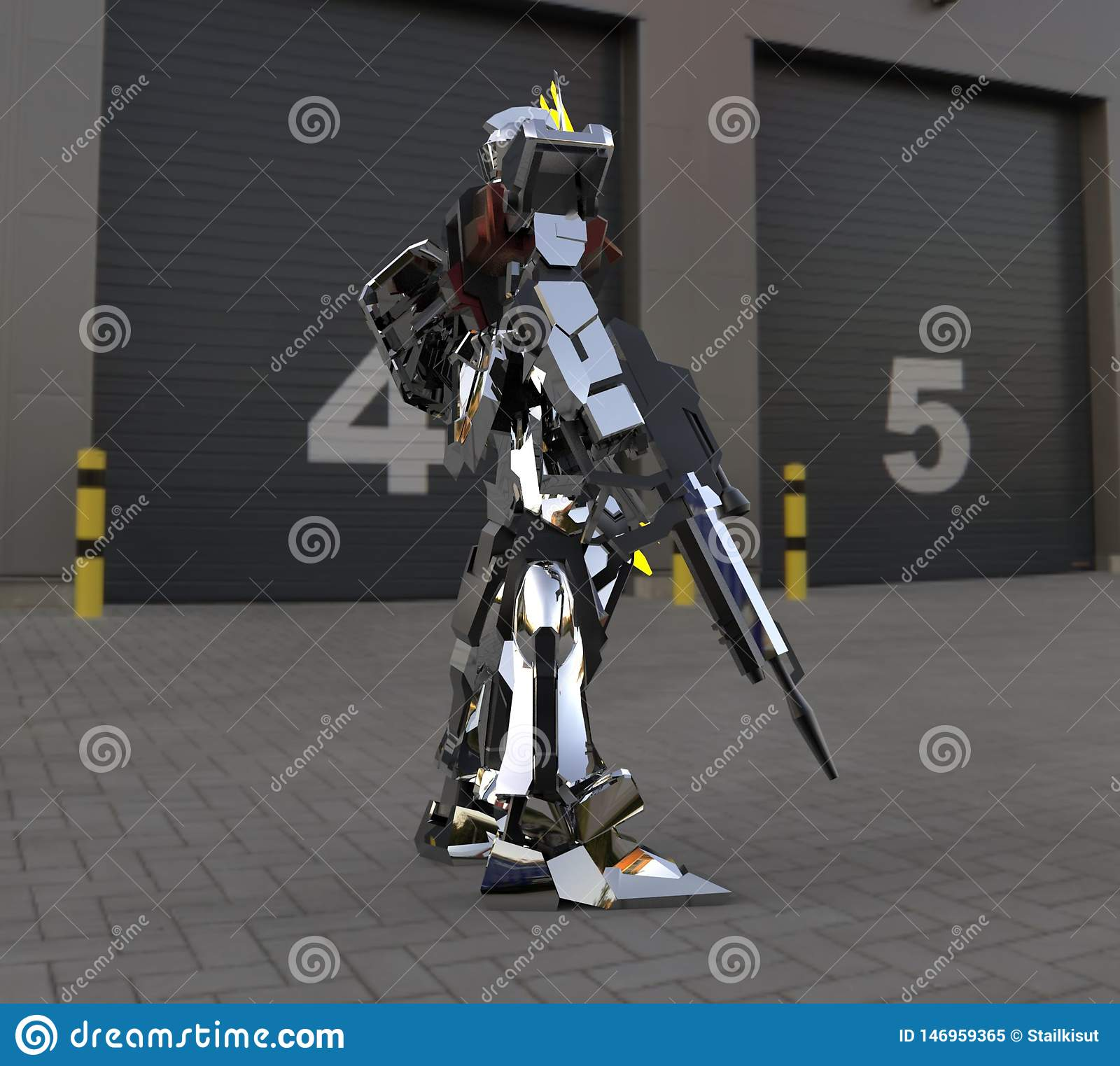 Sci-fi mech soldier standing on a landscape background. Military futuristic robot with a green and gray color metal. Mech controll