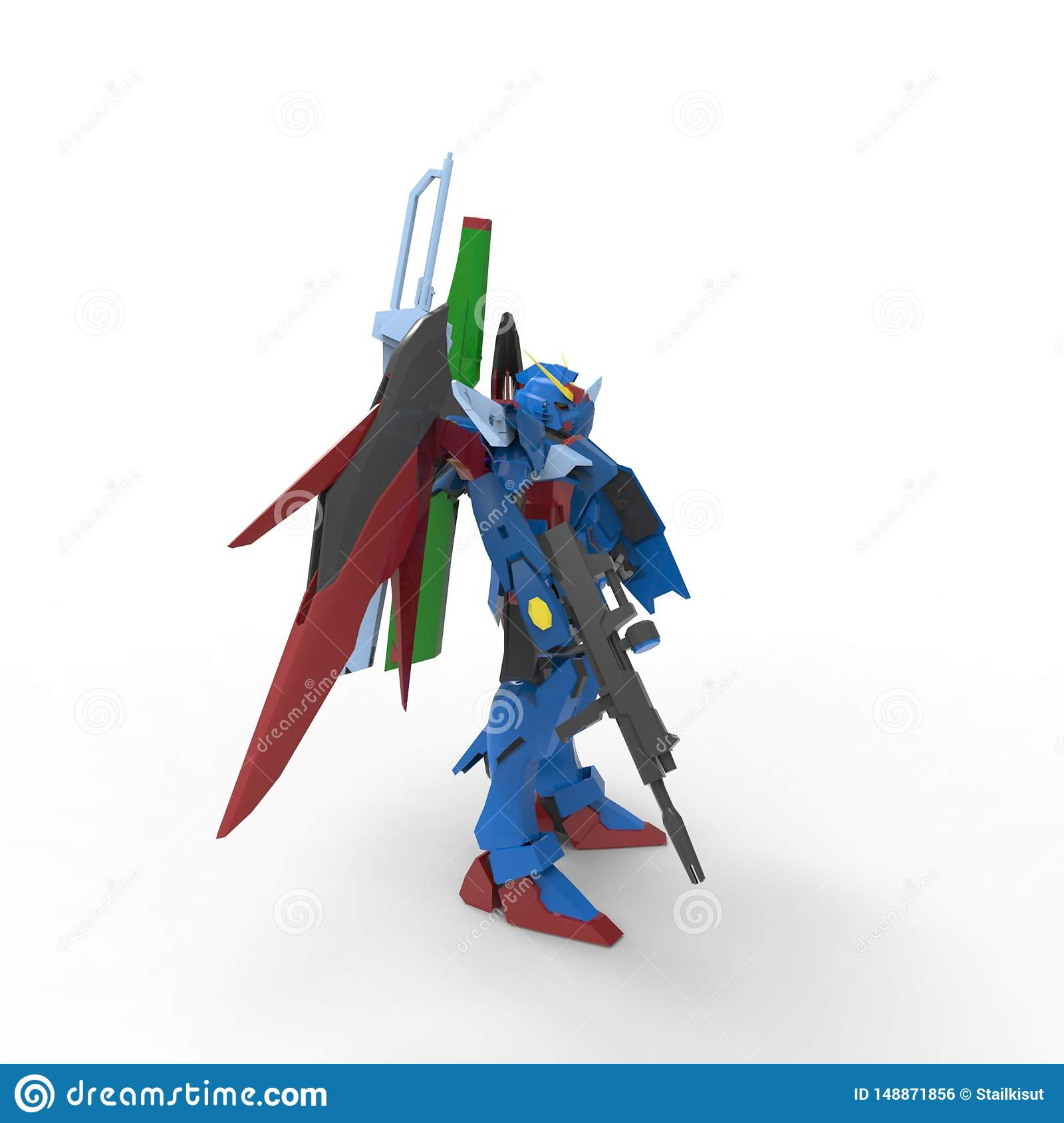 Sci-fi mech soldier standing on a white background. Military futuristic robot with a green and gray color metal. Mech controlled