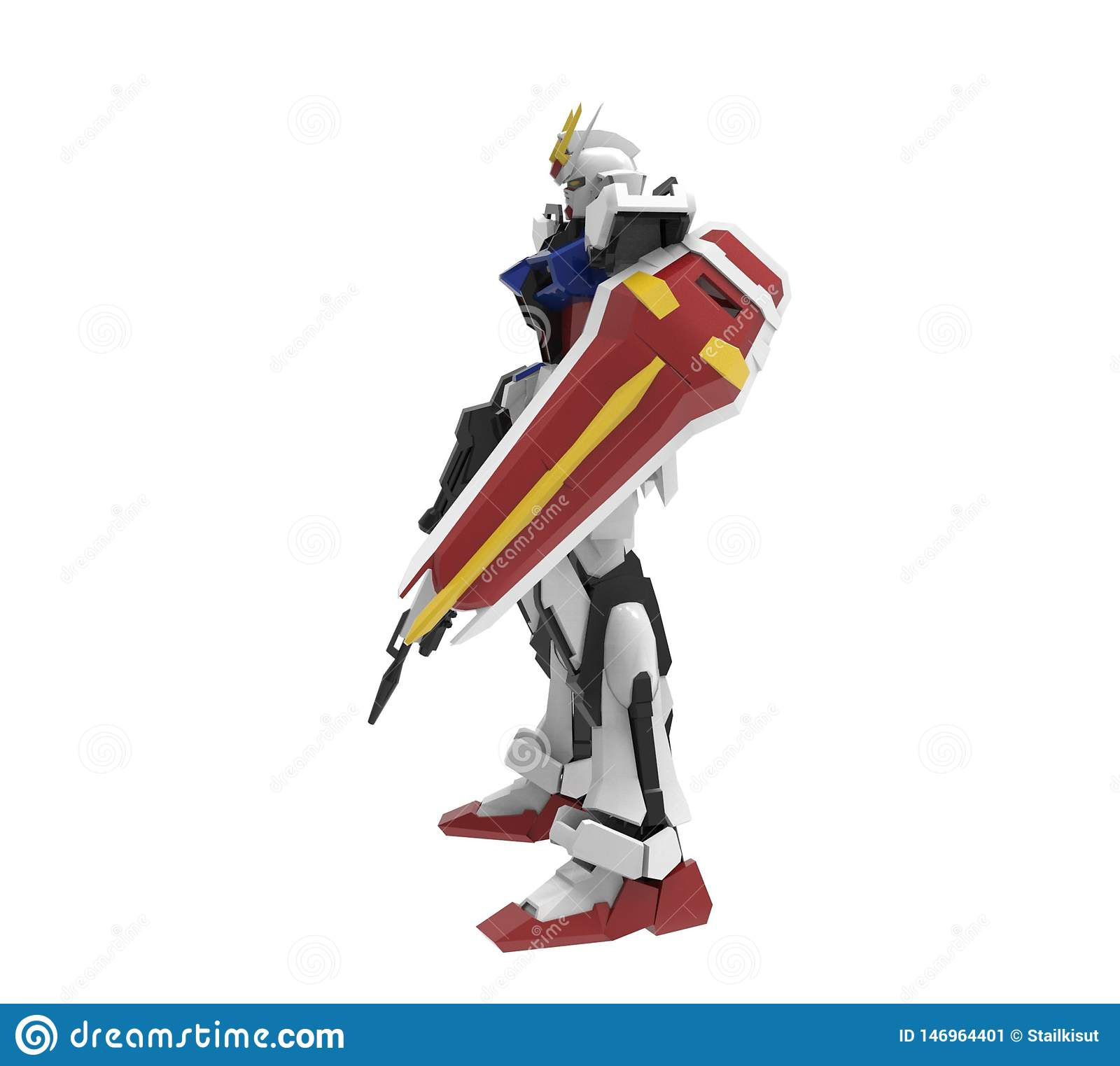 Sci-fi mech soldier standing on a white background. Military futuristic robot with a green and gray color metal.