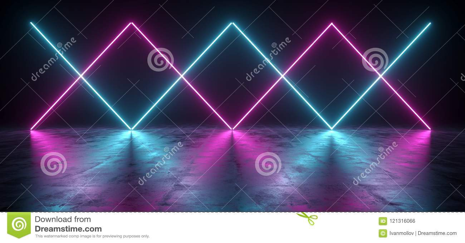 Sci futuriste fi bleu et lumières pourpres de tube au néon rougeoyant dans la Co