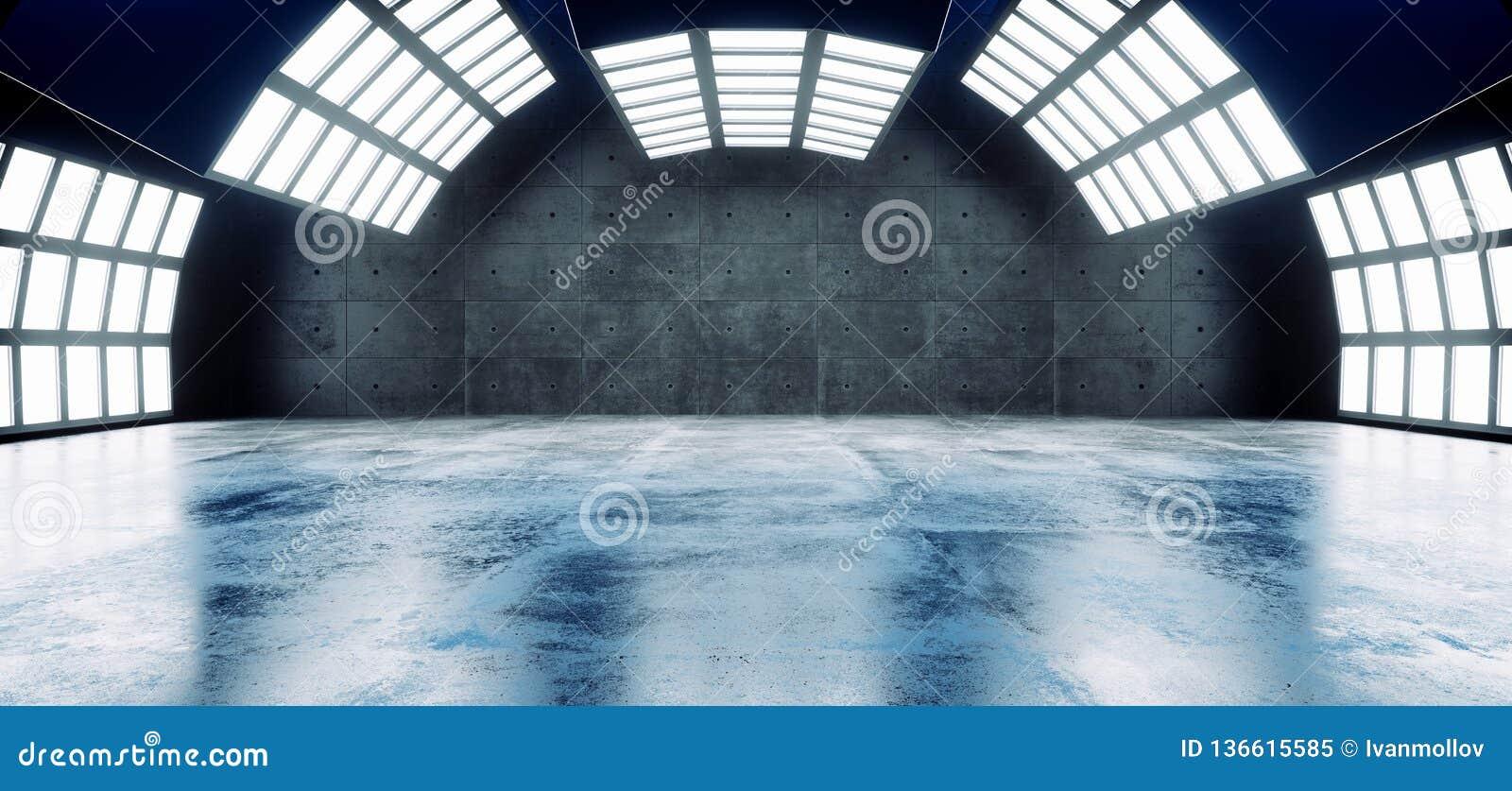 Sci futuristico il Fi grande Hall Dark Grunge Reflective Concrete vuoto moderno ha curvato la sala d esposizione vuota della gran