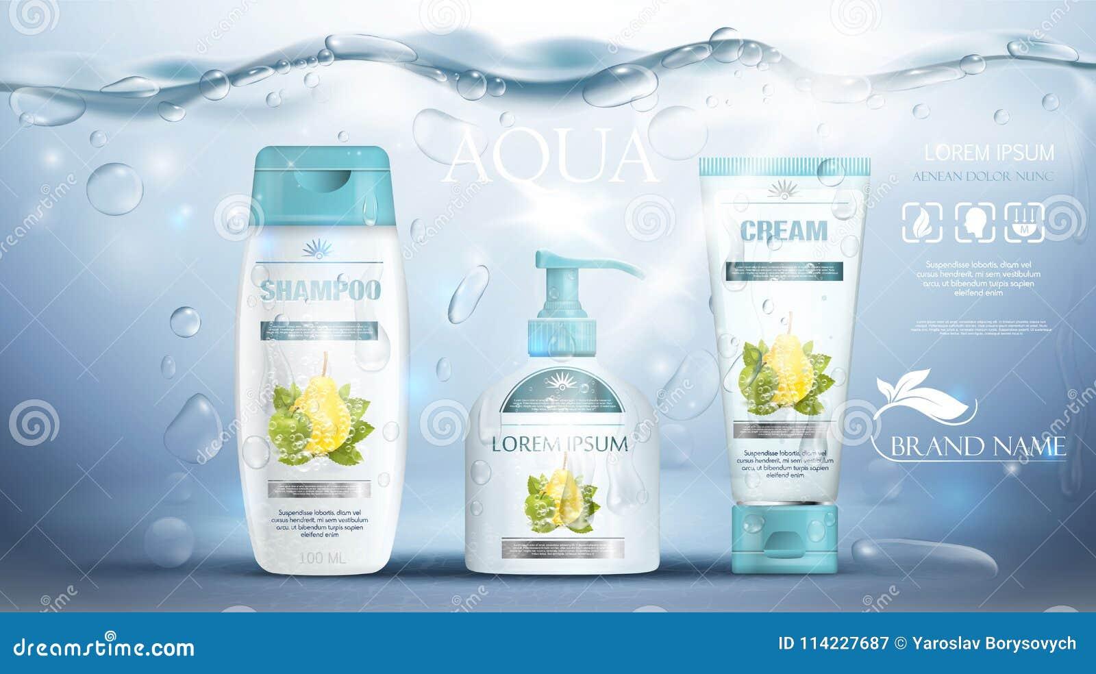 Sciampo che imballa, tubo crema, bottiglia del sapone che annuncia modello blu subacqueo realistico Promozione dei prodotti di cu