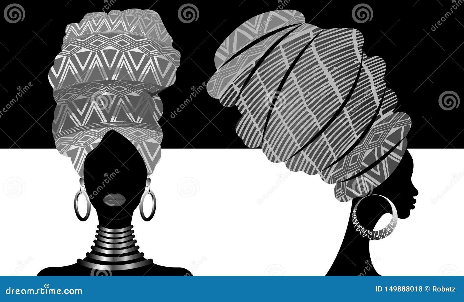 Sciarpa africana messa, donne di afro del ritratto in un turbante a strisce Modo tribale dell involucro, Ankara, Kente, kitenge,
