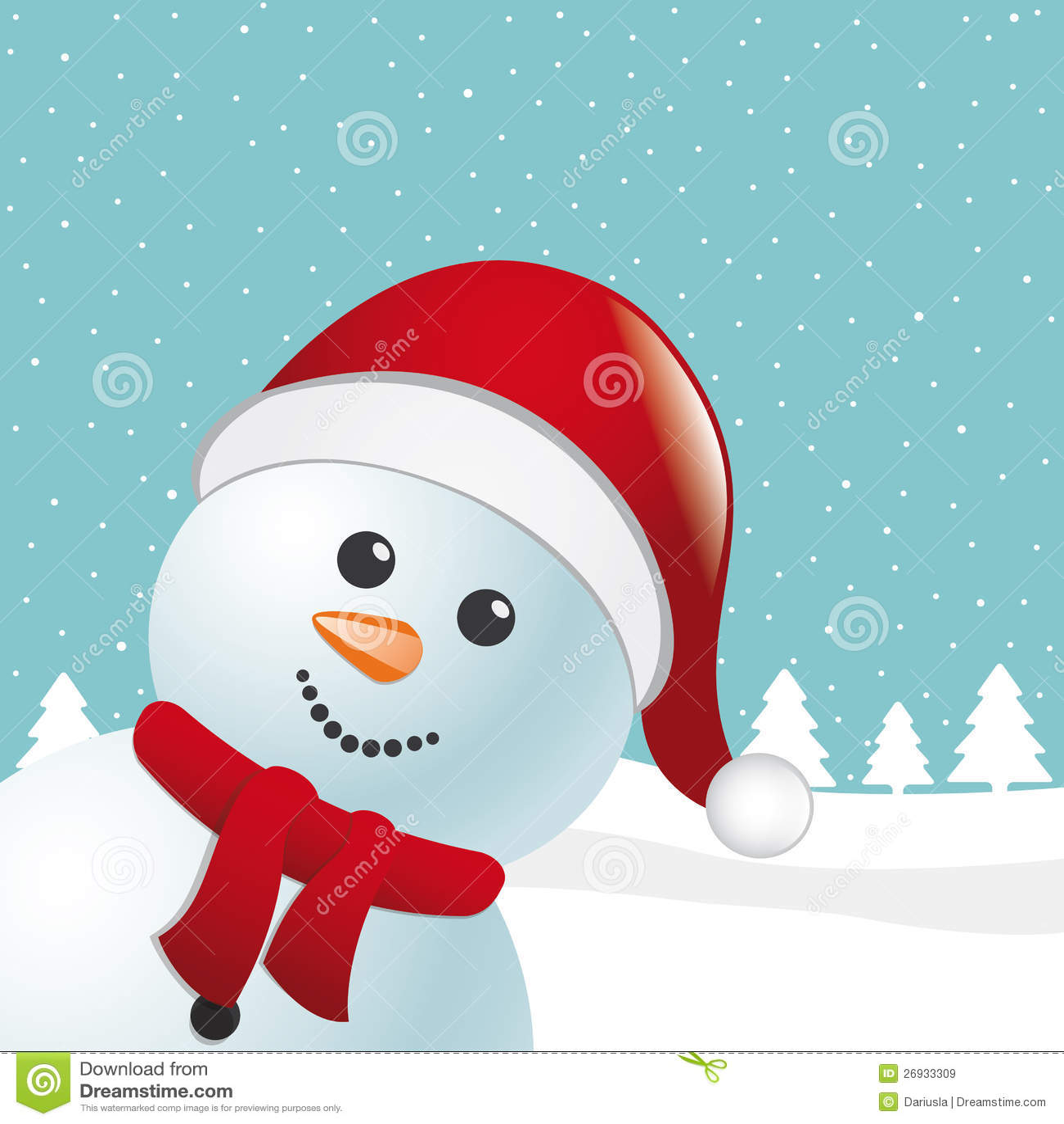 Pupazzo di neve con la sciarpa ed il cappello del Babbo Natale a9c980df58a8