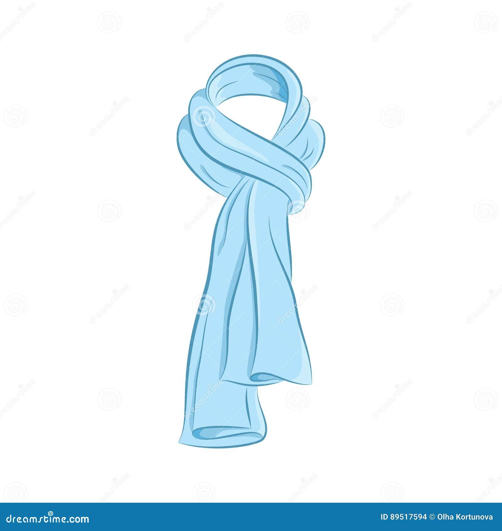 Sciarpa realistica Accessori di modo delle donne L oggetto blu isolato su fondo bianco Tiraggio disponibile dell illustrazione de