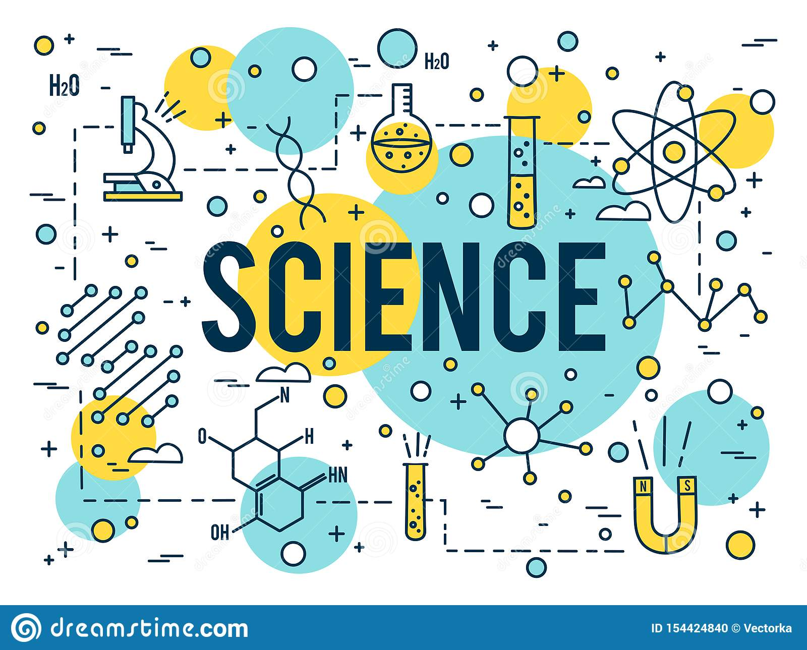 science background research vector linear elements icon dna outline biotechnology line medical tiny concept kindergarten activities