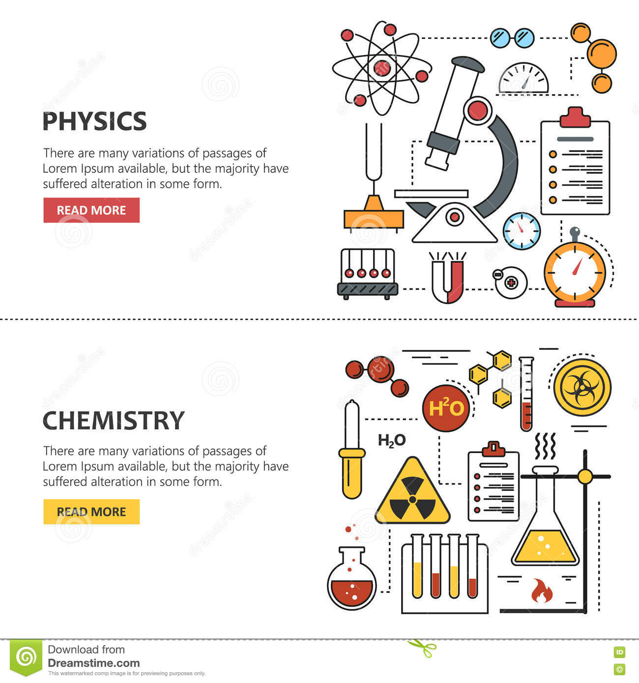 Science Banner Vector Concepts In Line Style Chemistry And Physics