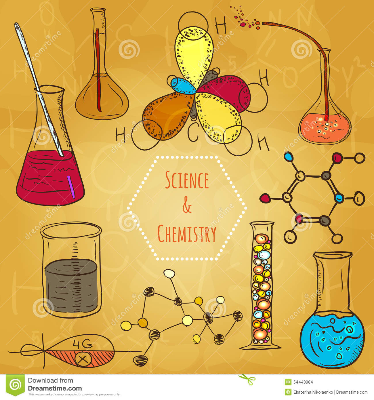 Science Design For Notebook: Science Chemistry Laboratory Vector Background Sketchy