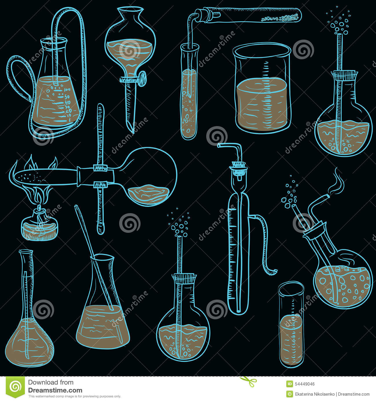 Science Laboratory Background Design: Science Chemistry Laboratory Vector Background Sketchy