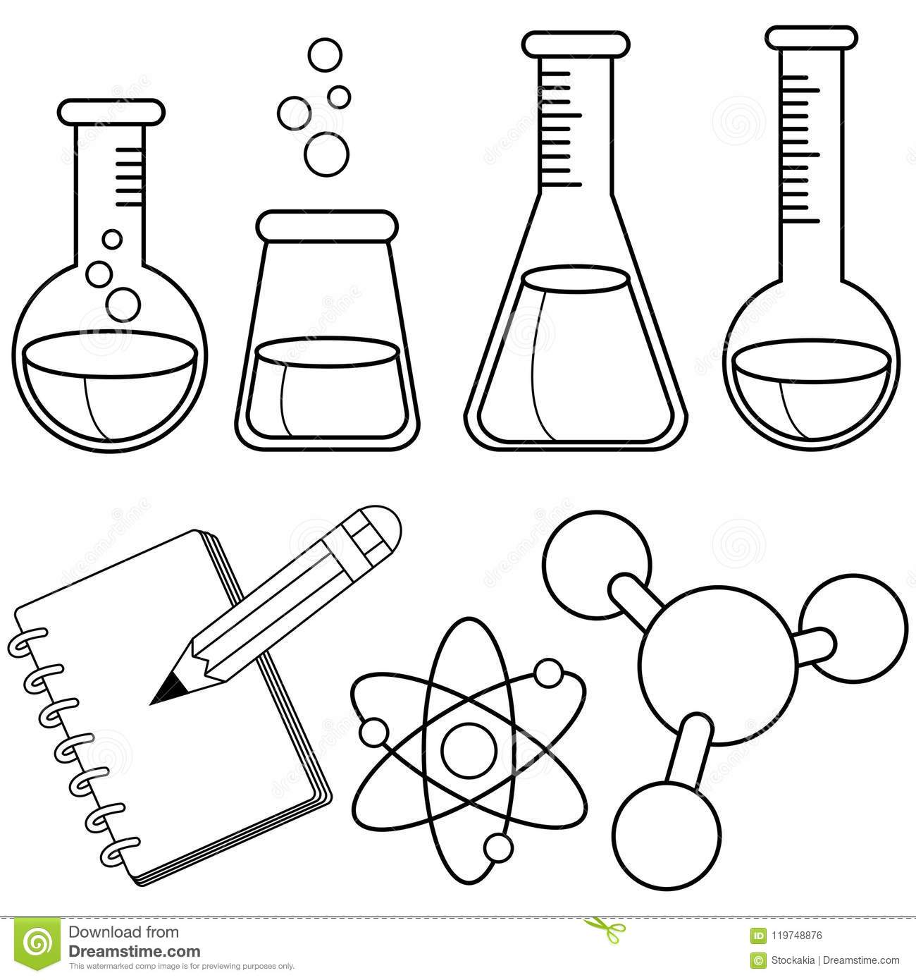 Science And Chemistry Set. Black And White Coloring Book Page Stock ...