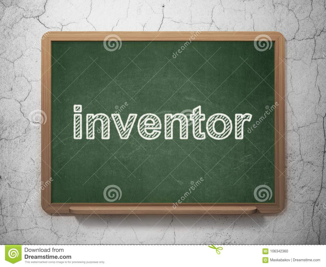 Science concept: Inventor on chalkboard background