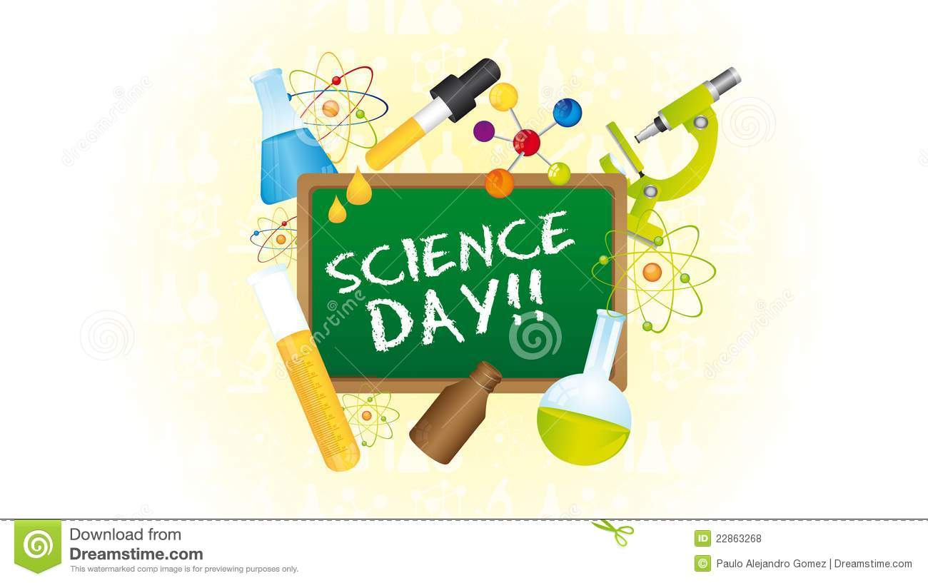 Icons of science day over green chalkboard. vector illustrator.