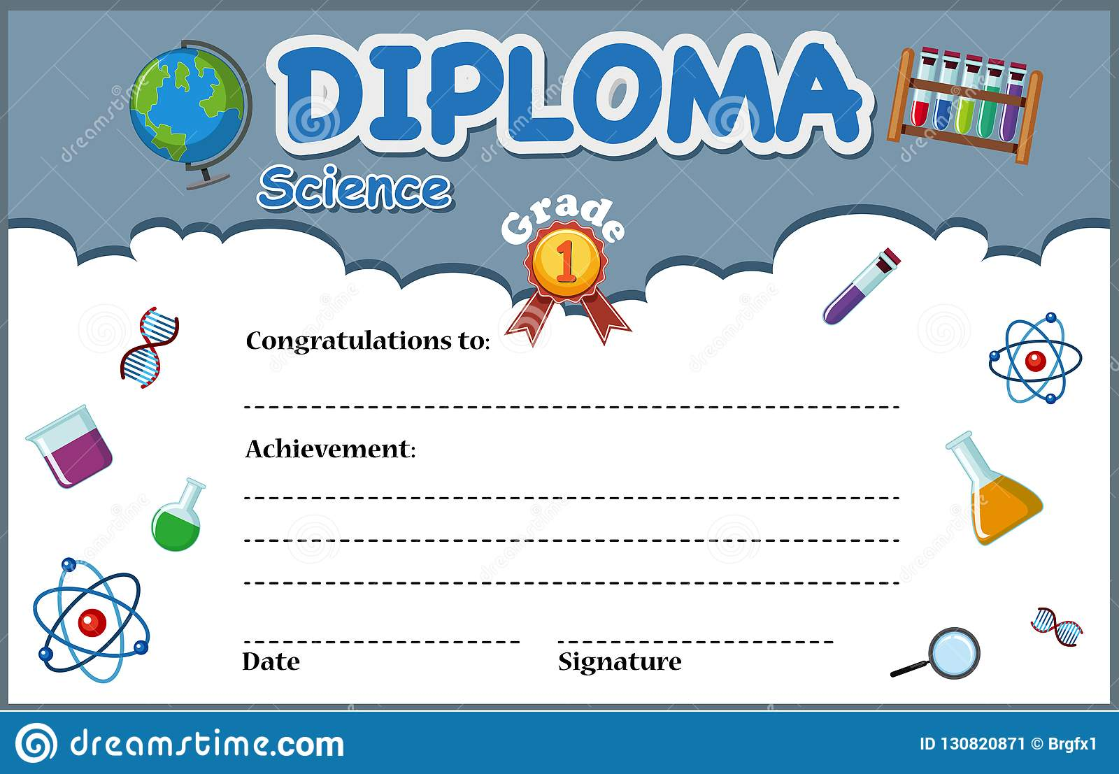 Science Diploma Certificate Template Stock Vector Illustration Of