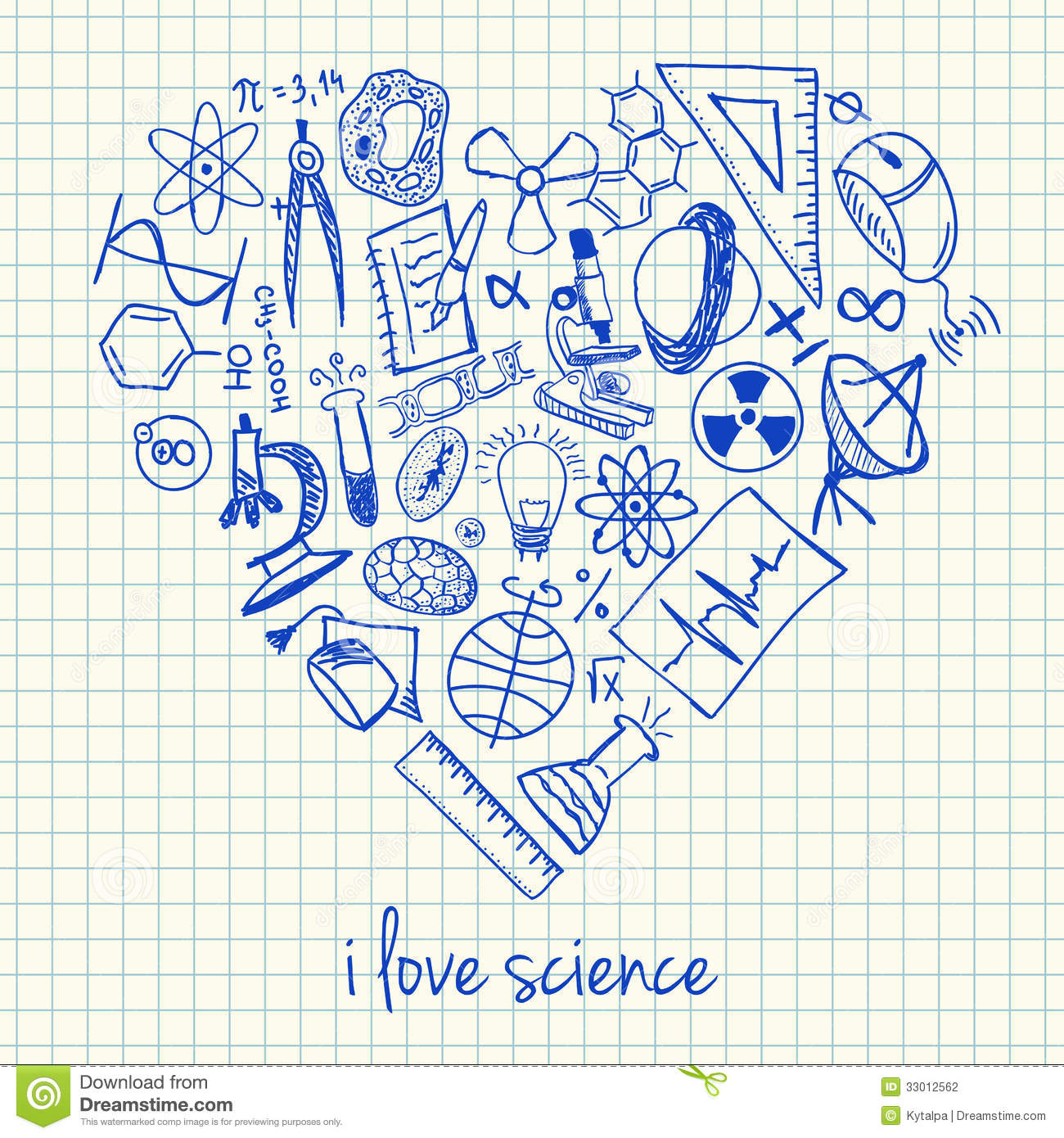 Science Drawings In Heart Shape Stock Photography - Image: 33012562