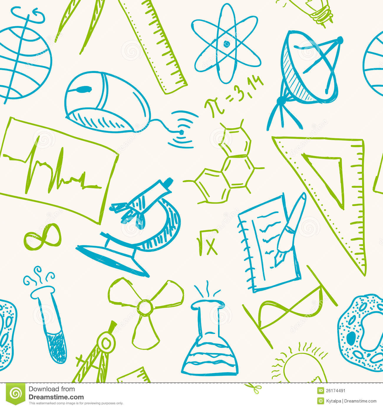 Stock Image Science Drawings Seamless Pattern Image26174491