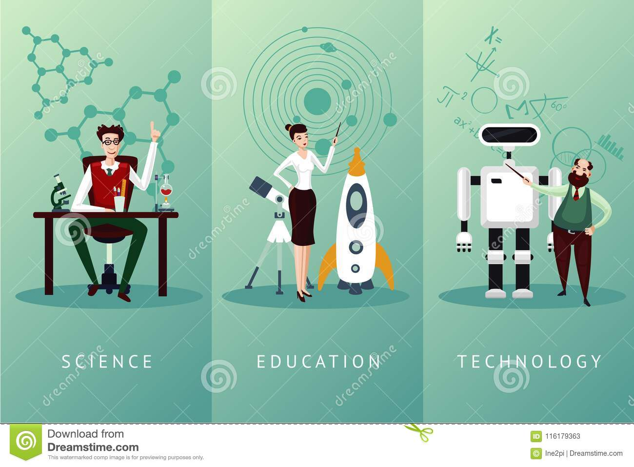 Scientist Vector Cartoon Characters Set Science And Education