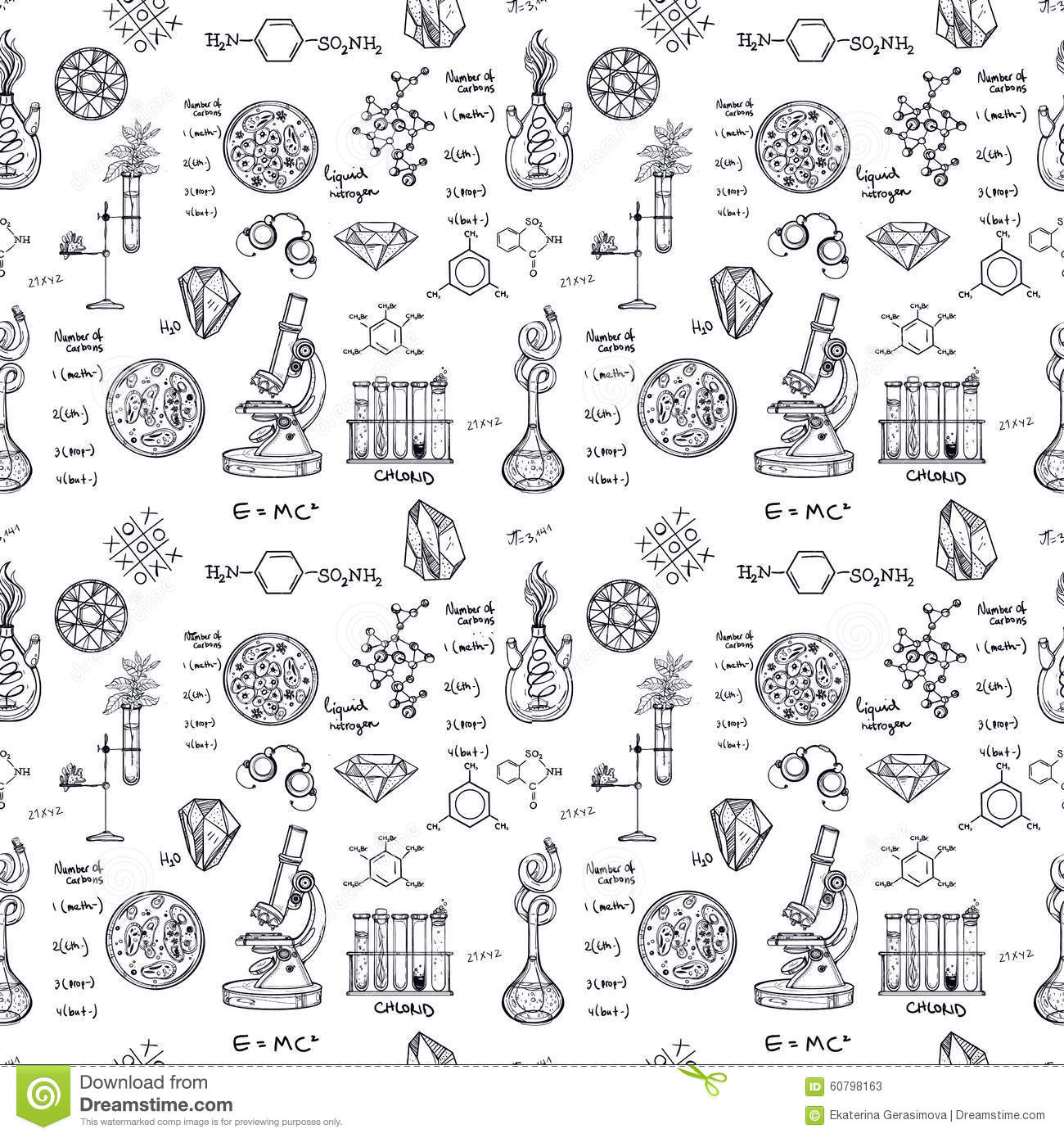Back To School: Science Lab Objects Doodle Vintage Style Sketches ...