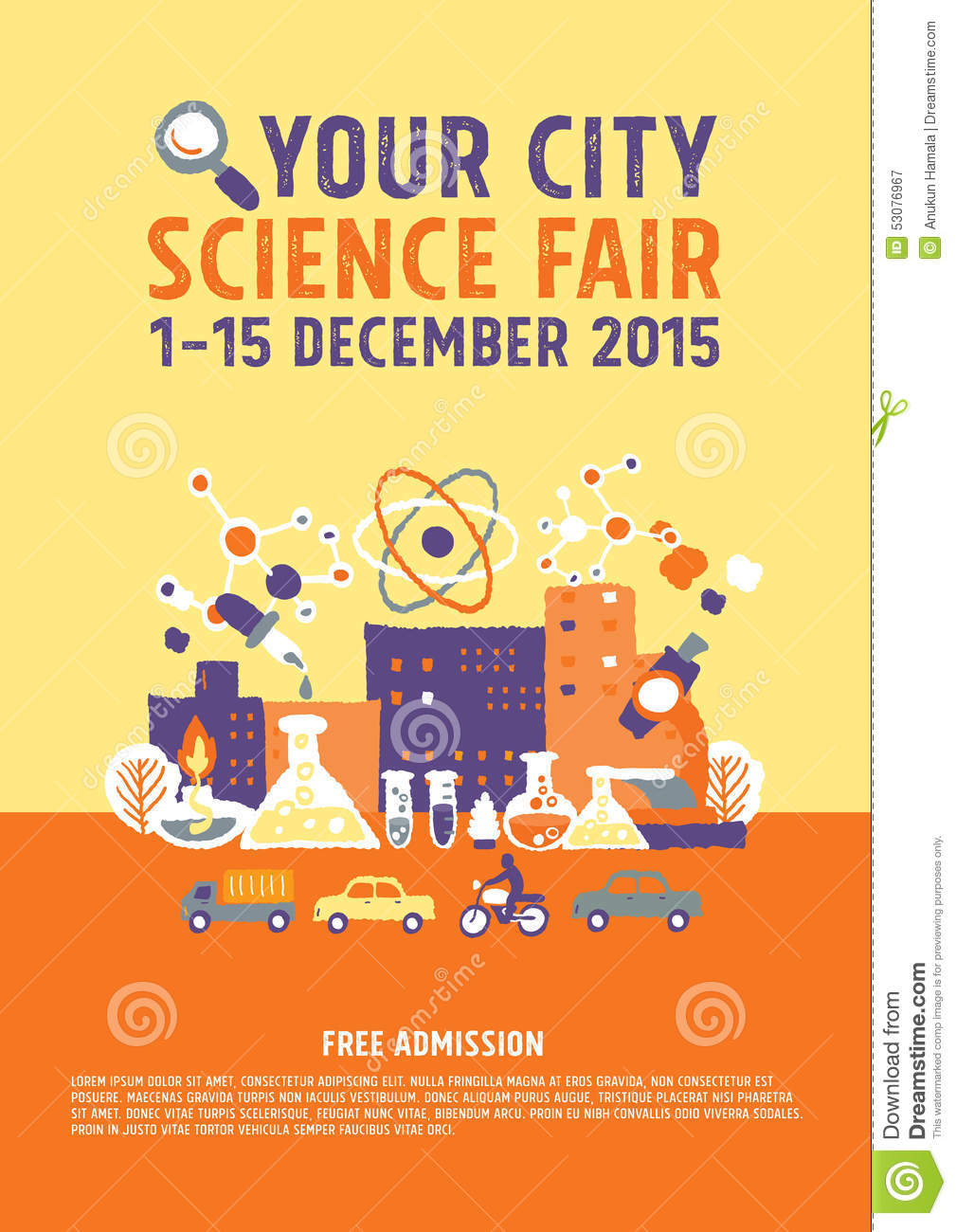 Science Fair poster concept - freehand drawing vector illustration.